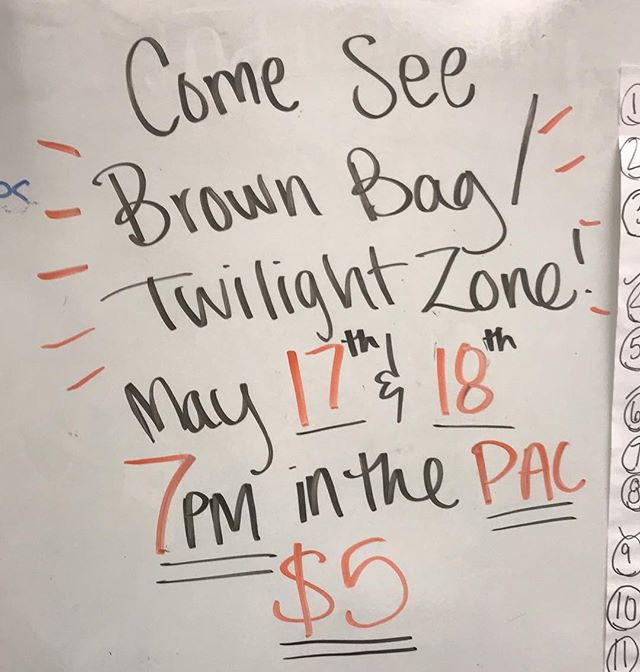 Come see Central Theatre's LAST production of the year!! See Thespian award winning superior performances, State-recognized improv team, musical numbers, and much much more!! Each night also features a special performance of a *TOP SECRET* Twilight Zone episode by our Theatre 3 class! ••• May 17 & 18 in the PAC @ 7pm • $5 General Admission