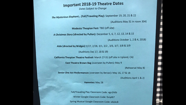 Now announcing the 2018-2019 season... Fall/Traveling Show: The Mysterious Elephant and the Terrible Tragedy of the Unlikely Addington Twins (*Who Kill Him)  Winter Play: A Christmas Story  Spring Musical: Aida (Google Classroom Pages are listed on the attached Important Dates sheet!)