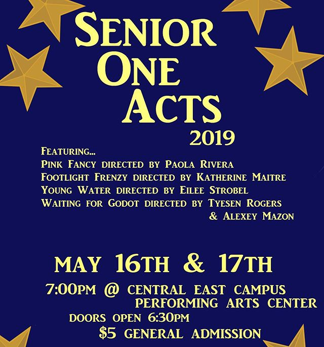 The show dates are almost here! Senior One Act Performances will be THIS THURSDAY and FRIDAY at 7pm! Don't miss out on the final theatre performances of the year!