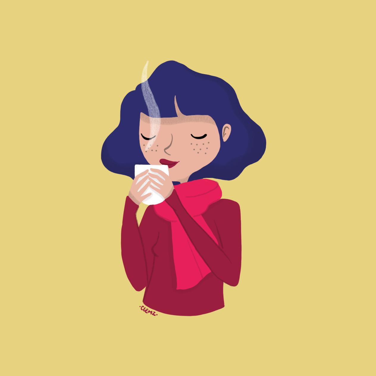 illustration fille café - lyon - paris - france