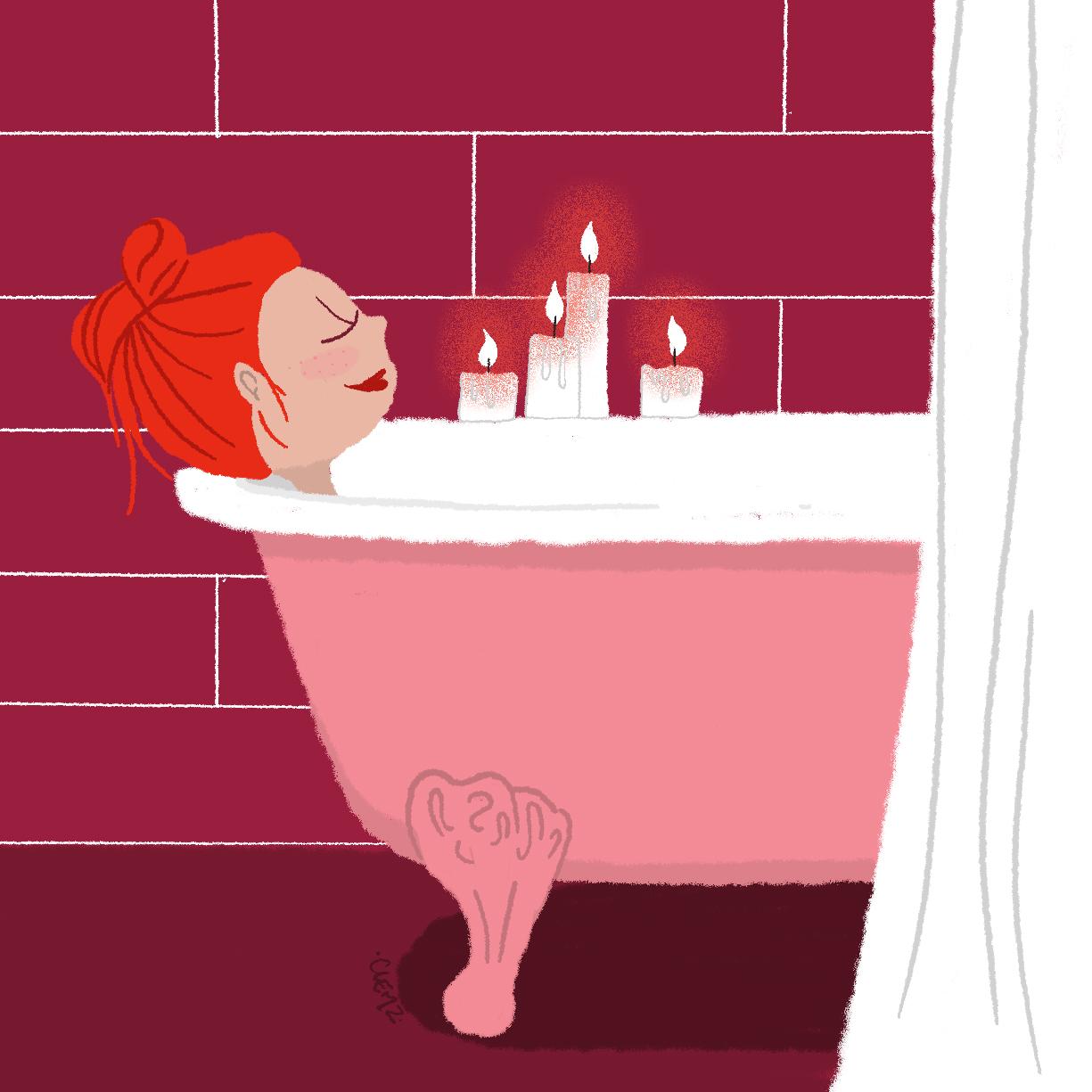 illustration fille dans son bain