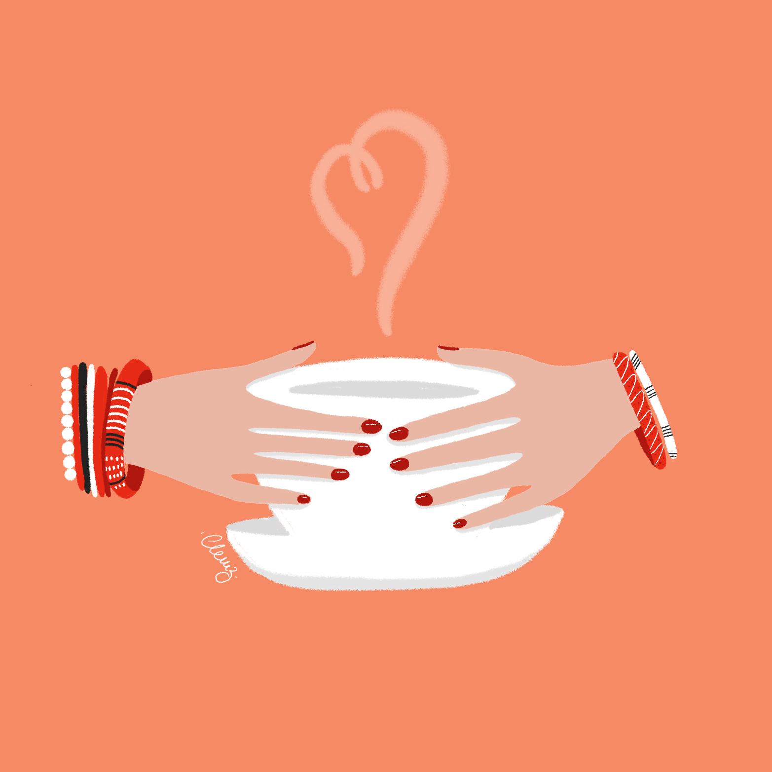 illustration mains café - lyon - paris - france