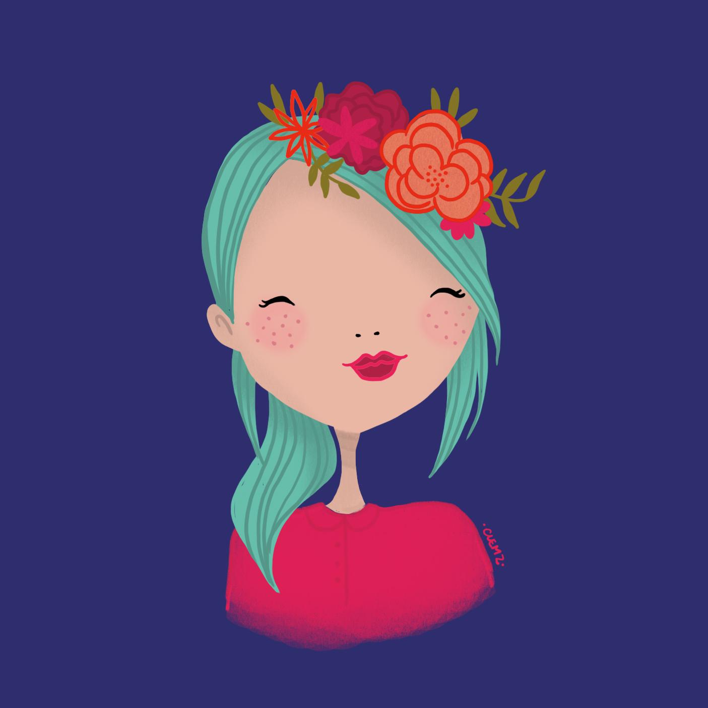 illustration fille fleur - lyon - paris - france