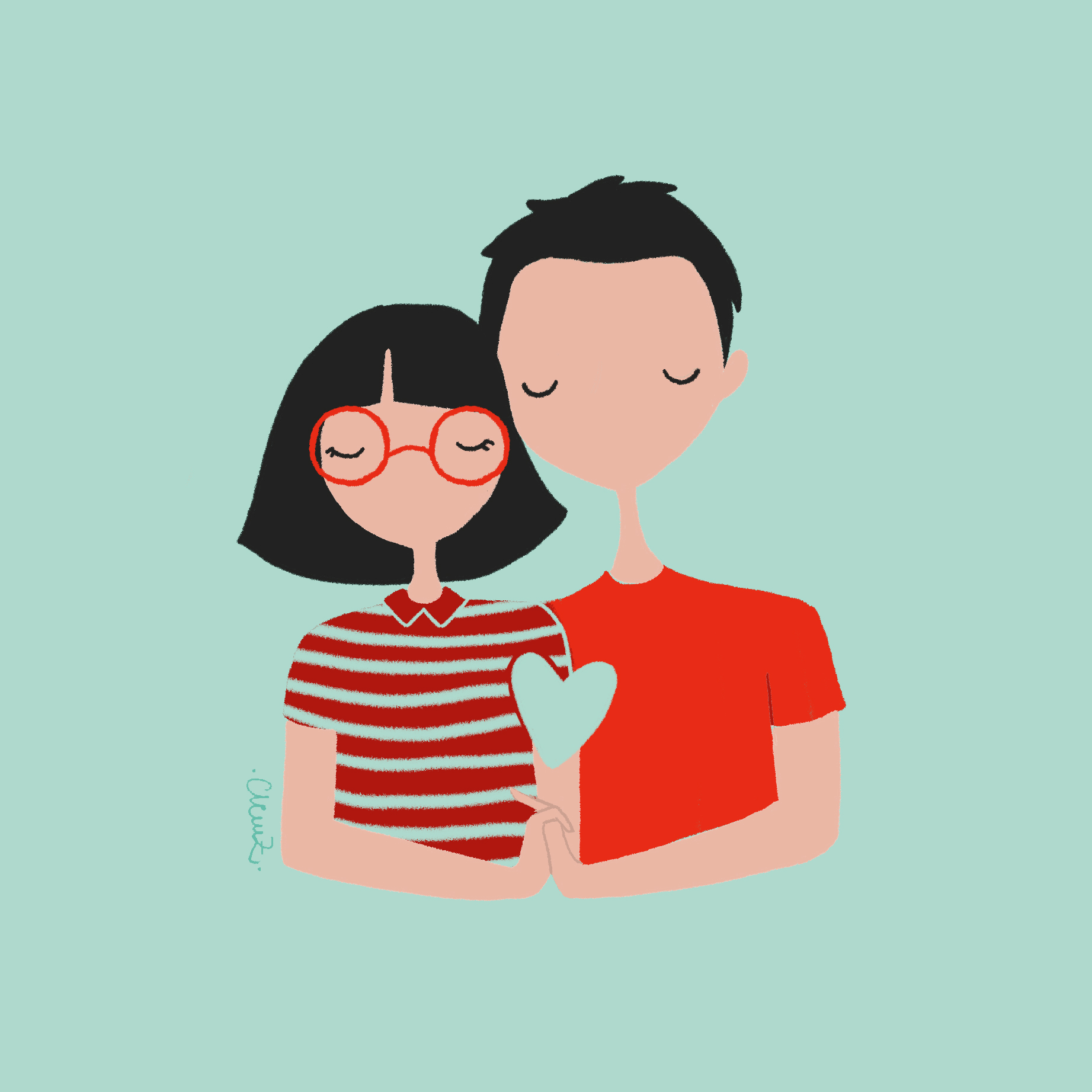 illustration amoureux - lyon - paris - france