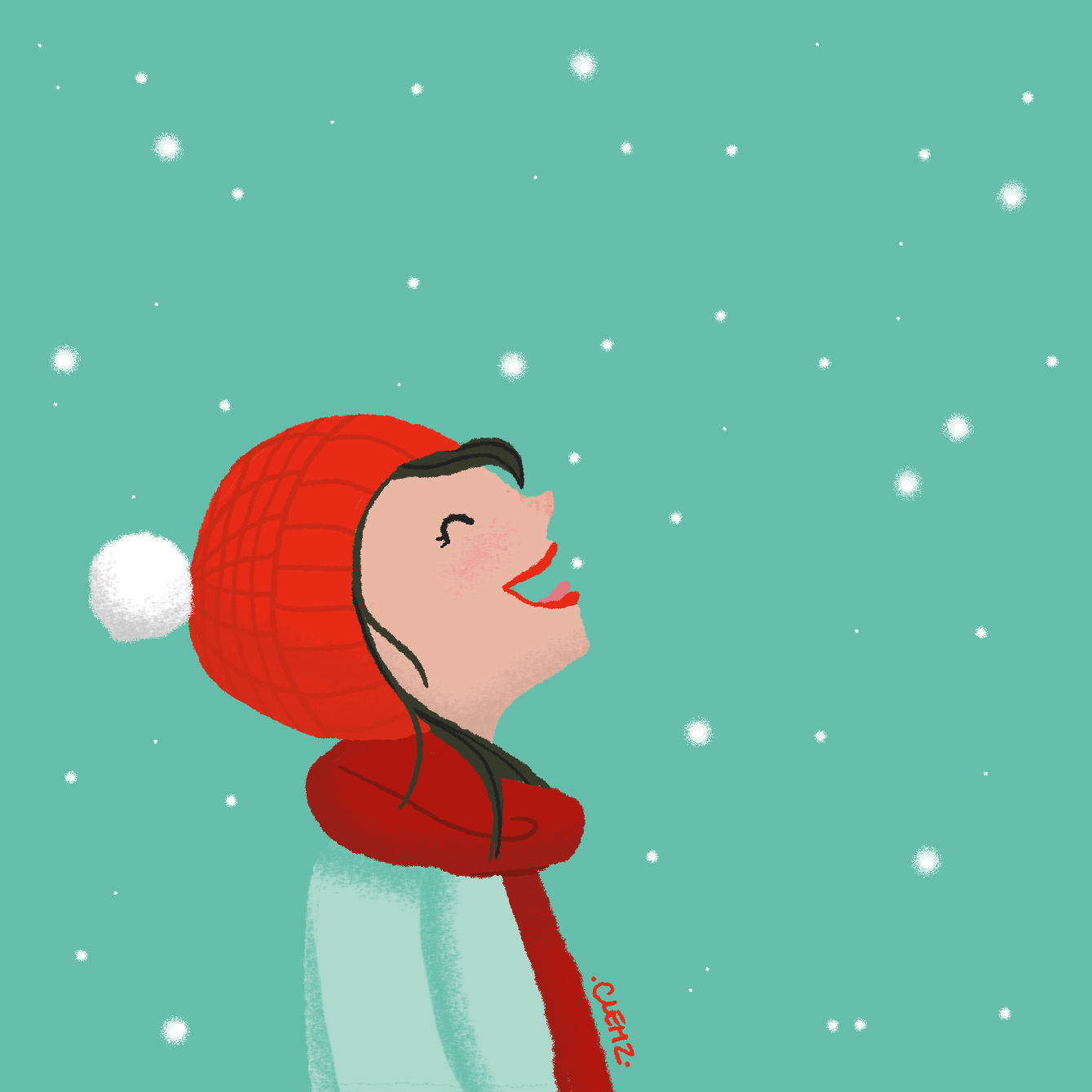 illustration fille flocons - lyon - paris - france