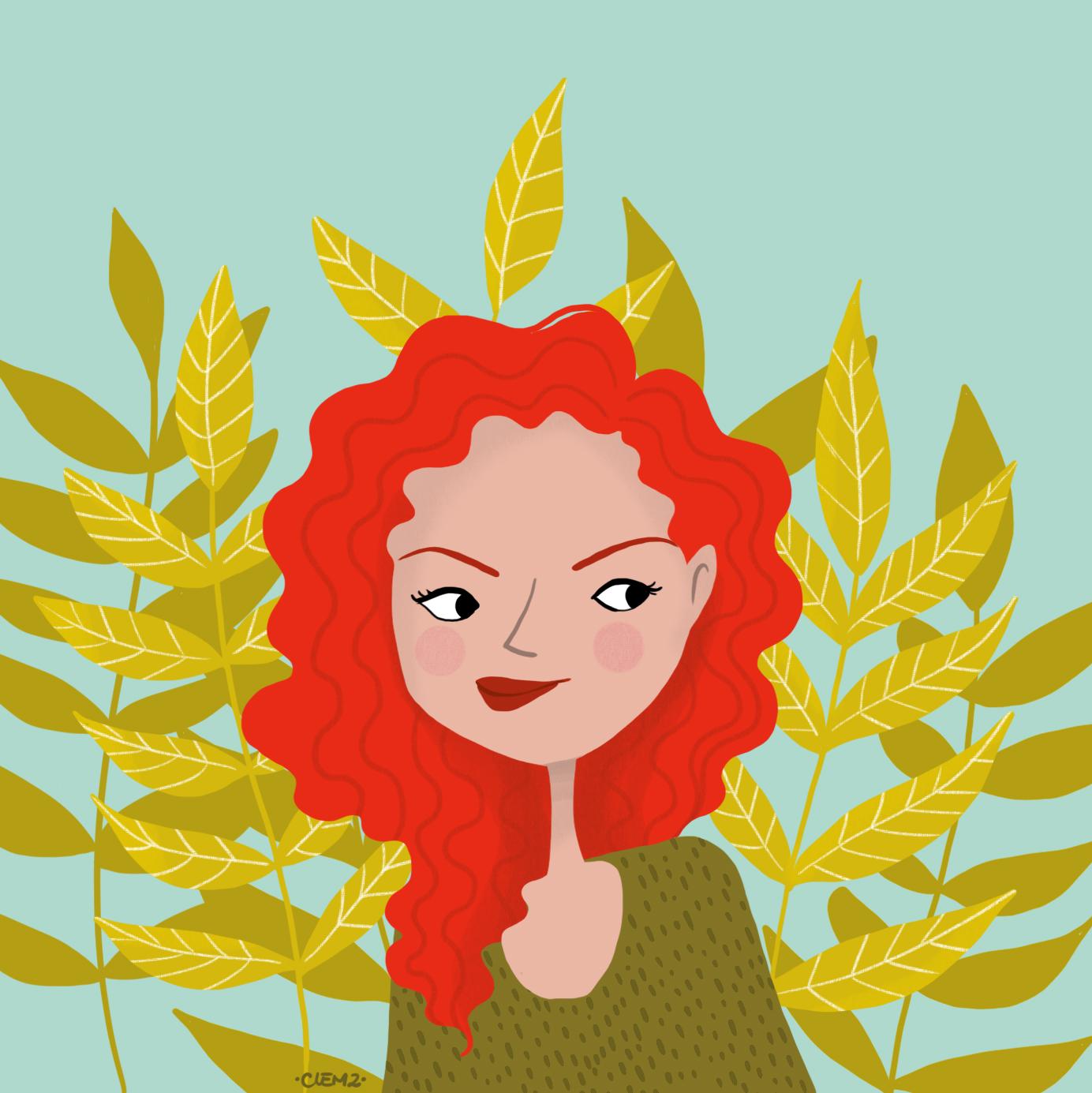illustration fille rousse - lyon - paris - france
