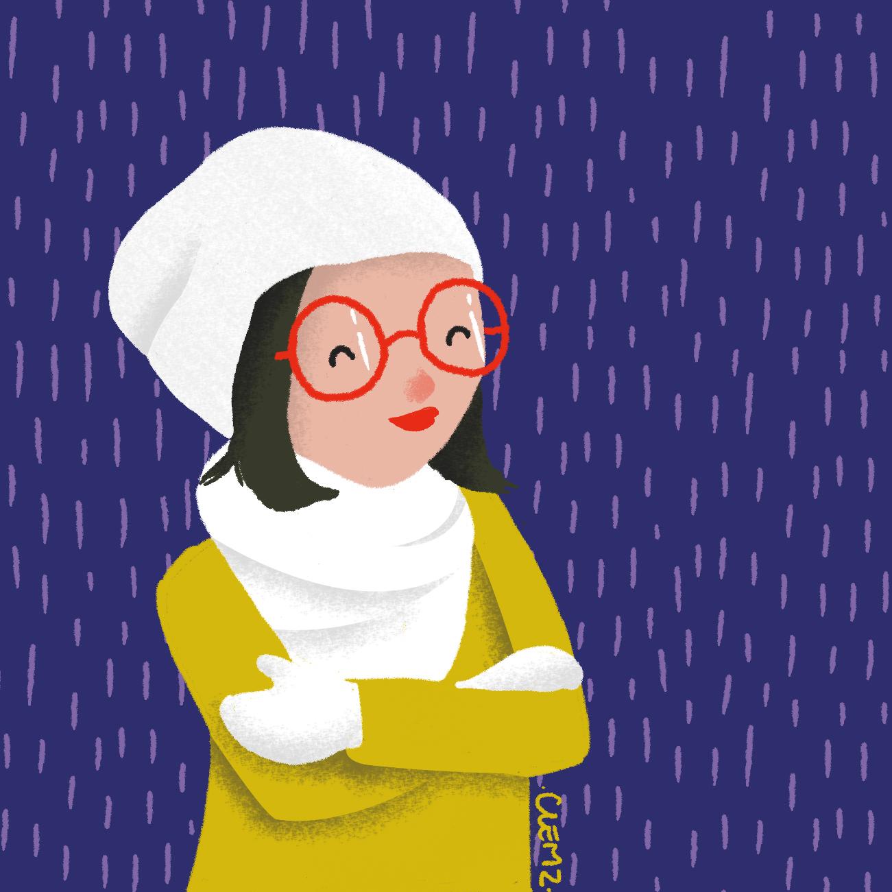 illustration hiver fille bonnet - lyon - paris - france