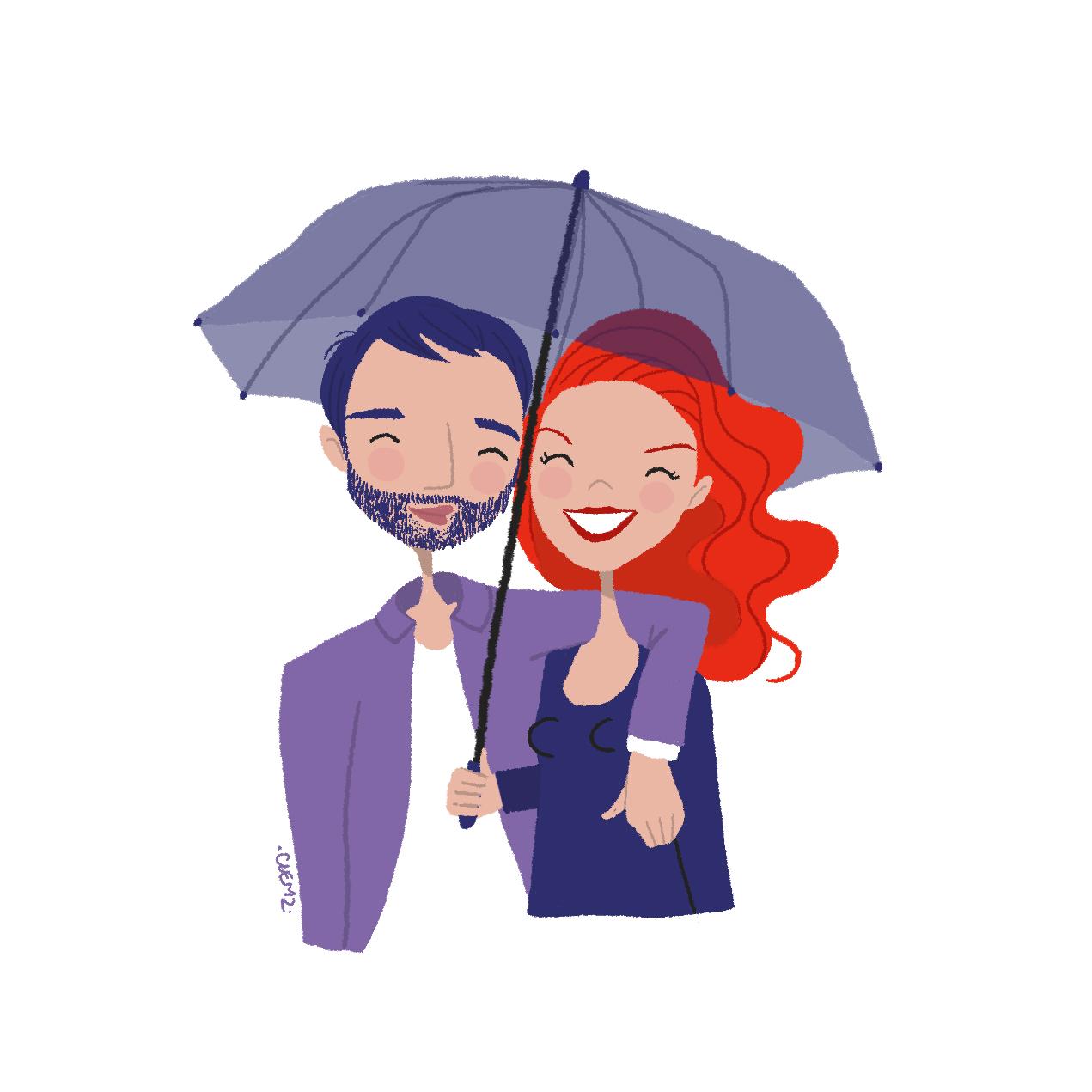 illustration couple amoureux parapluie - lyon - paris - france