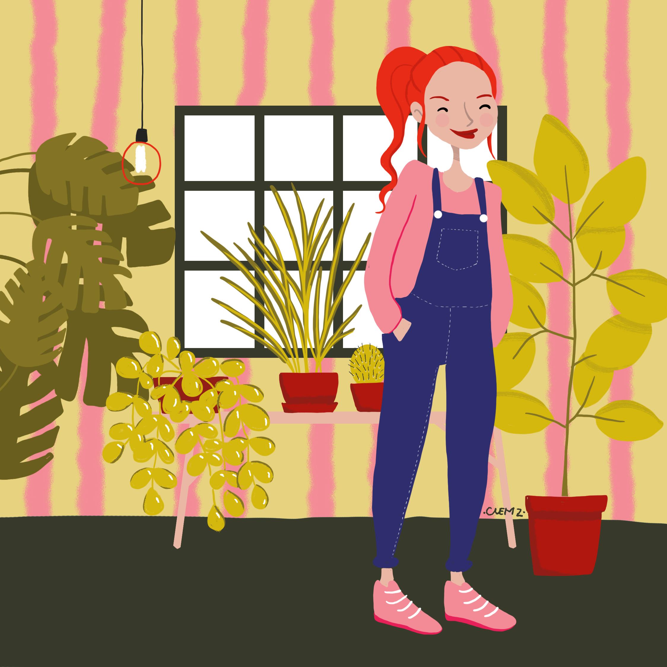 illustration fille jardin interieur - lyon - paris