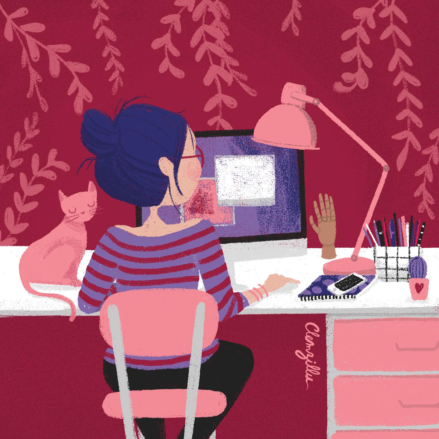 illustration fille bureau - lyon - paris - france