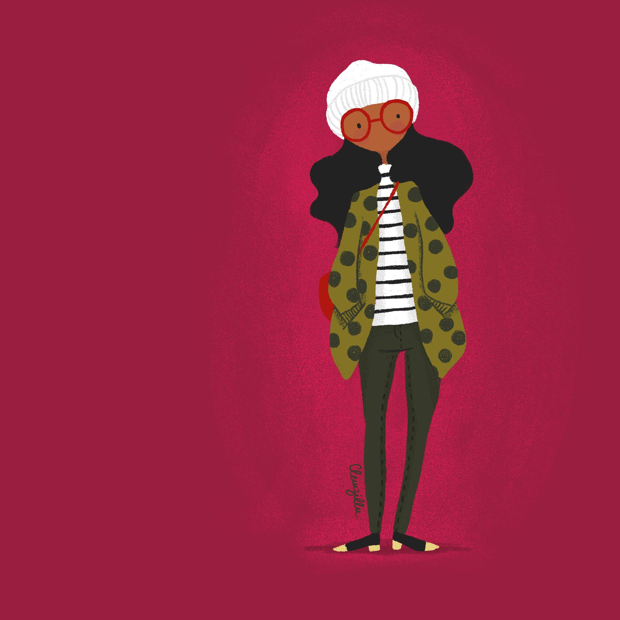 illustration look mode fille manteau - lyon - paris - france