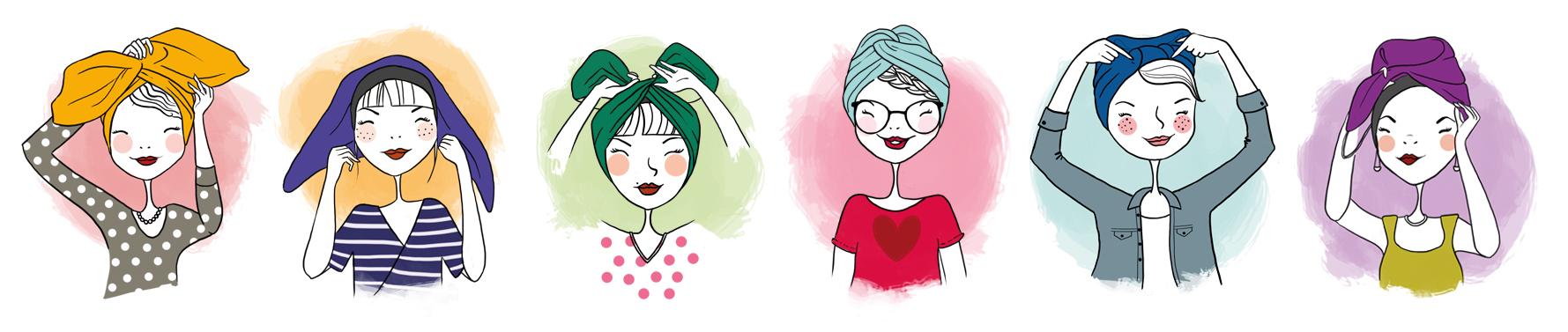 Clemzillu illustration tutos pour Indira de Paris marque de turbans - illustratrice lyonnaise