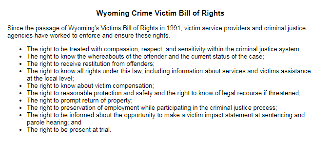 Learn more from the  Wyoming Division of Victim Services