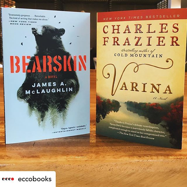 Posted @withrepost • @eccobooks It's always a good day when two Ecco favorites are newly available in paperback! As of today, paperbacks of @jamesamcl37's BEARSKIN and @charles__frazier's VARINA are ready to be brought along on any summer adventures you're planning. . . . . #bearskinbook #bearskin #jamesamclaughlin #varina #charlesfrazier #paperback #fiction #thriller #historicalfiction #bookstagram #instabooks #igreads