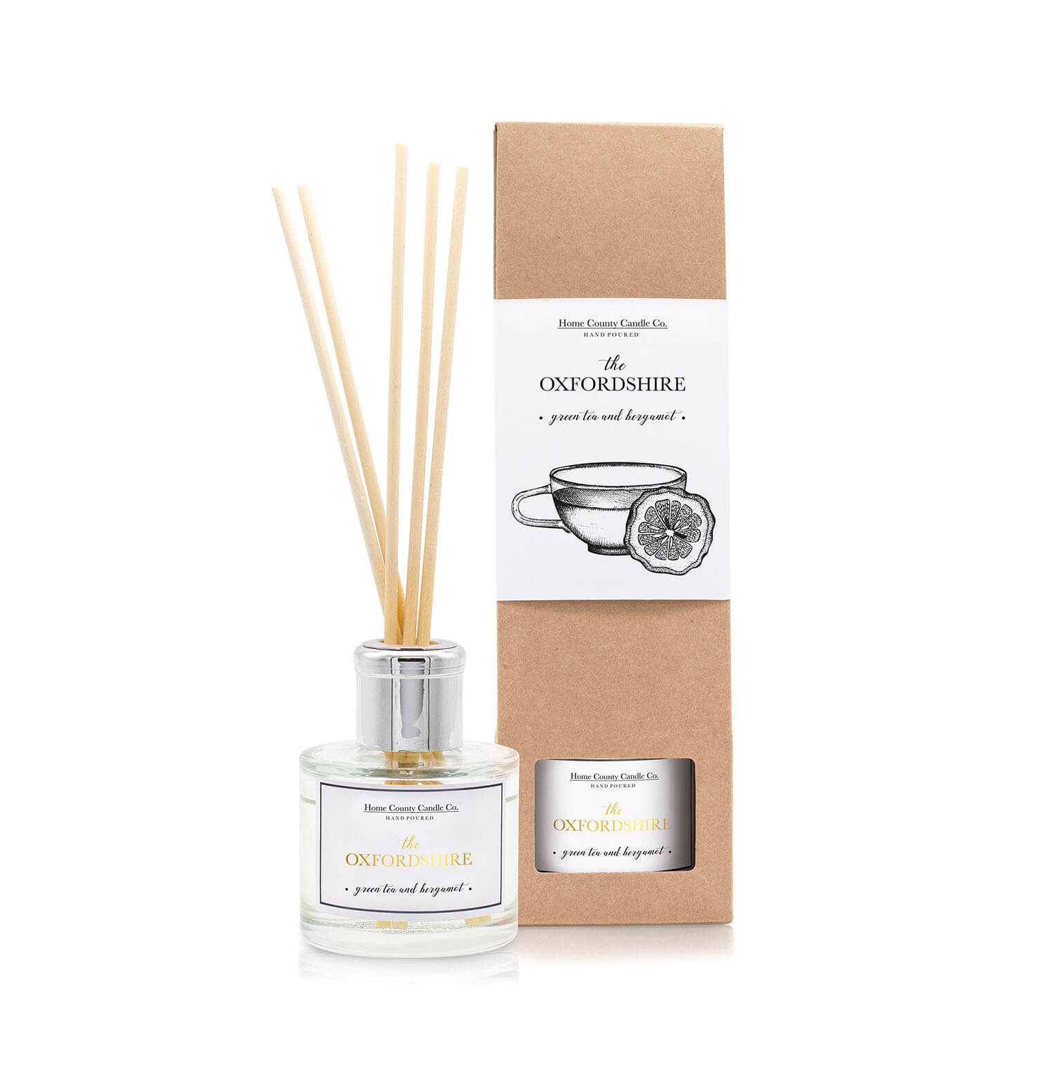 inspired by… - Our Oxfordshire products are scented with Green Tea & Bergamot, inspired by tea with friends in the 'City of Dreaming Spires.'Working on the Bucks/Ox border I often find myself popping into Oxford after work to meet up with friends for a chat, and we always admire the beautiful views. Oxford is so rich in history but is also young, fresh, vibrant and clean - something we wanted to capture with our Oxfordshire scent.We hope we achieved just that with refreshing citrus bergamot, blended mandarin and drier notes of orange rind and lemon, twisted by notes of green tea forming the top notes. Leading on to a vibrant, floral bouquet heart of cool, watery white lily, sweet dewy rose, exotic gardenia and cyclamen. All of which are supported by a base of musk, amber and precious woods.