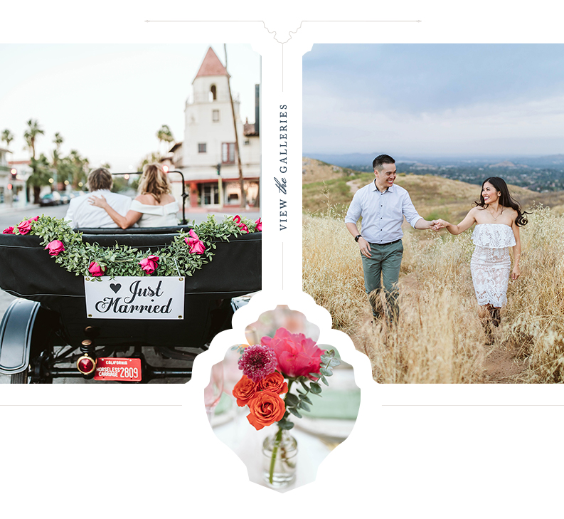 Ella Merrill is a Palm Springs, San Diego, Orange County, Los Angeles, Temecula, and Riverside wedding photographer. Click here to view the portfolio. Palm Springs Wedding ceremony exit, Riverside engagement session, wedding reception table details with peonies