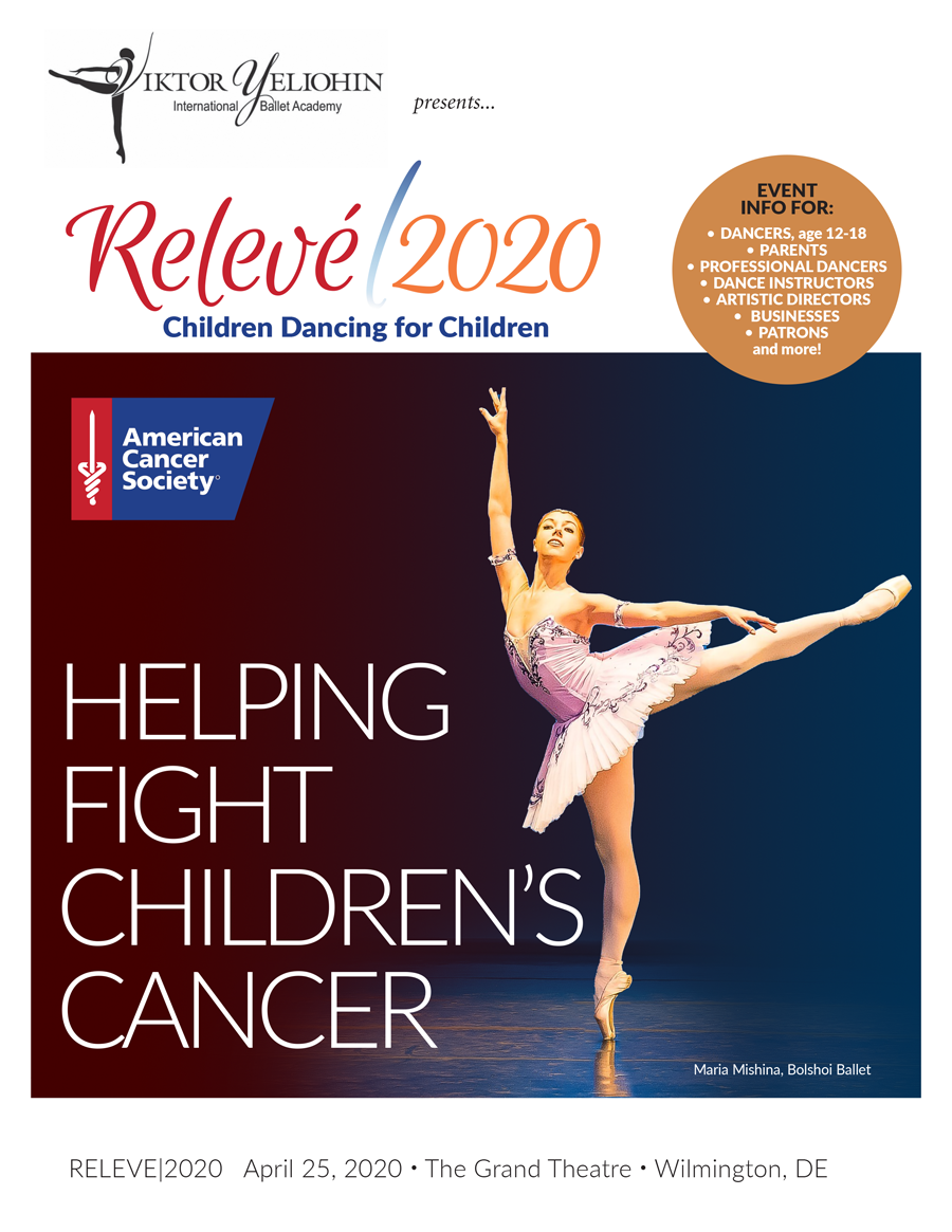 Relevé|2020 - dancers between the ages of 12 and 18 are invited to apply to participate in a unique performance taking place on April 25, 2020, at The Grand Theatre in Wilmington, Delaware.RELEVÉ|2020 is a showcase performance for the best young ballet dancers in the country, who will dance alongside many of the world's top professionals before artistic directors from around the globe. This is an opportunity to be seen that is not available through local and regional competitions.CLICK IMAGE FOR EVENT INFORMATION