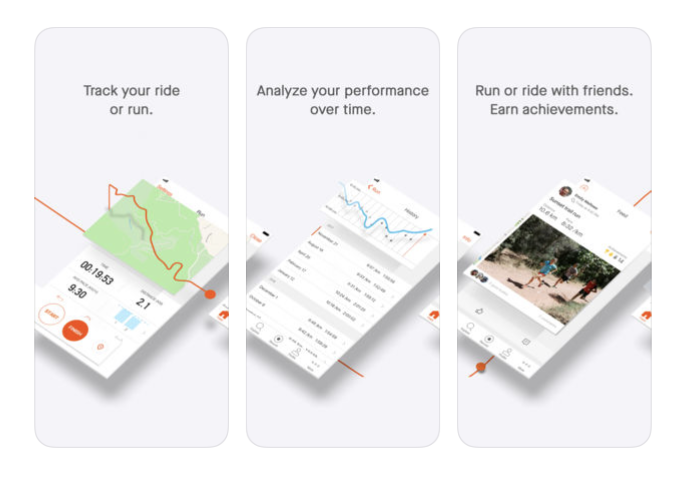 Strava's screenshots show off their app's running and cycling tracking abilities in a cool slideshow journey.