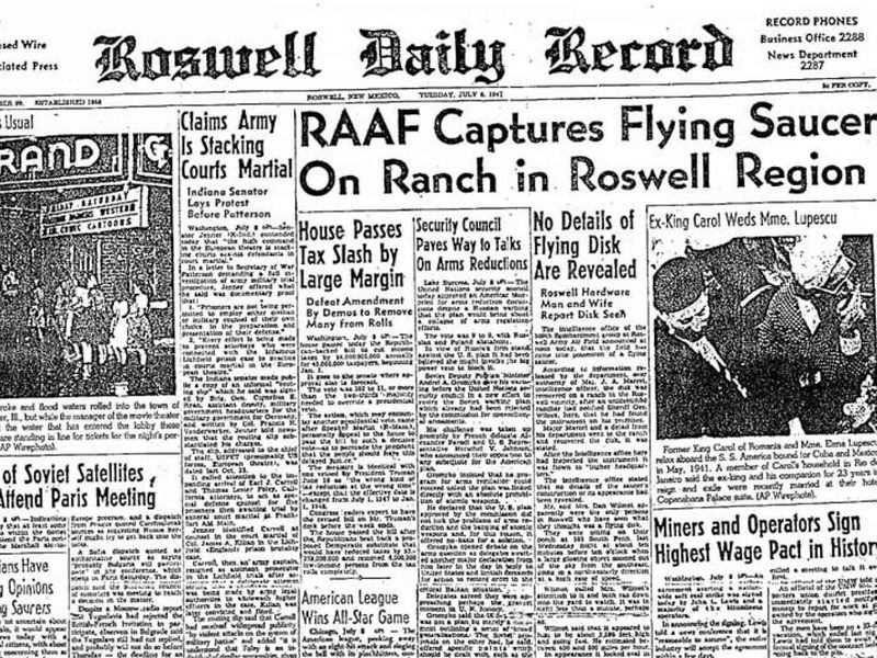 News report from Roswell after the purported crash discovery