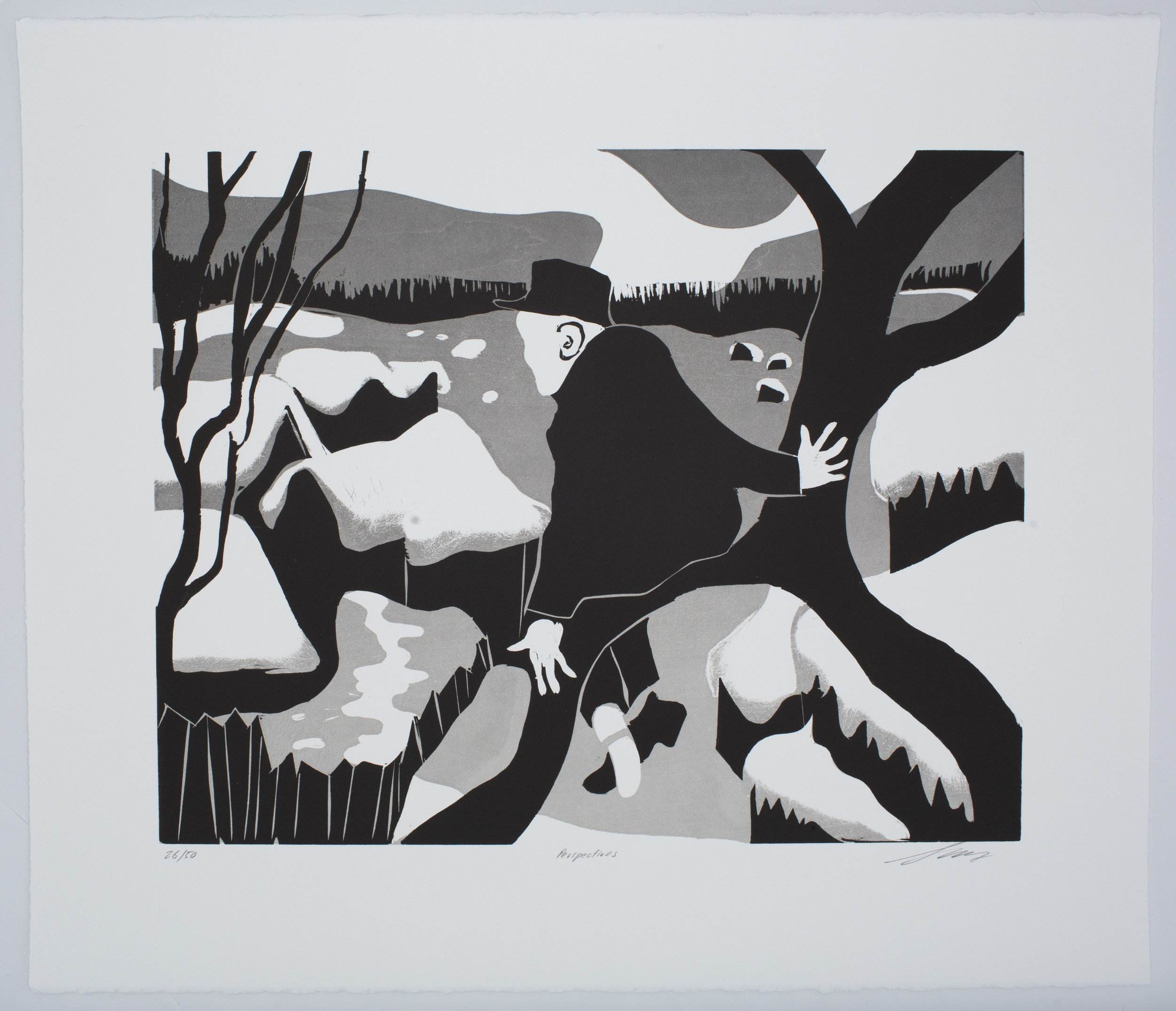 Perspectives , 2016 Woodcut Image Size: 24 x 18 inches Paper Size: 30 x 22 inches Edition of 50