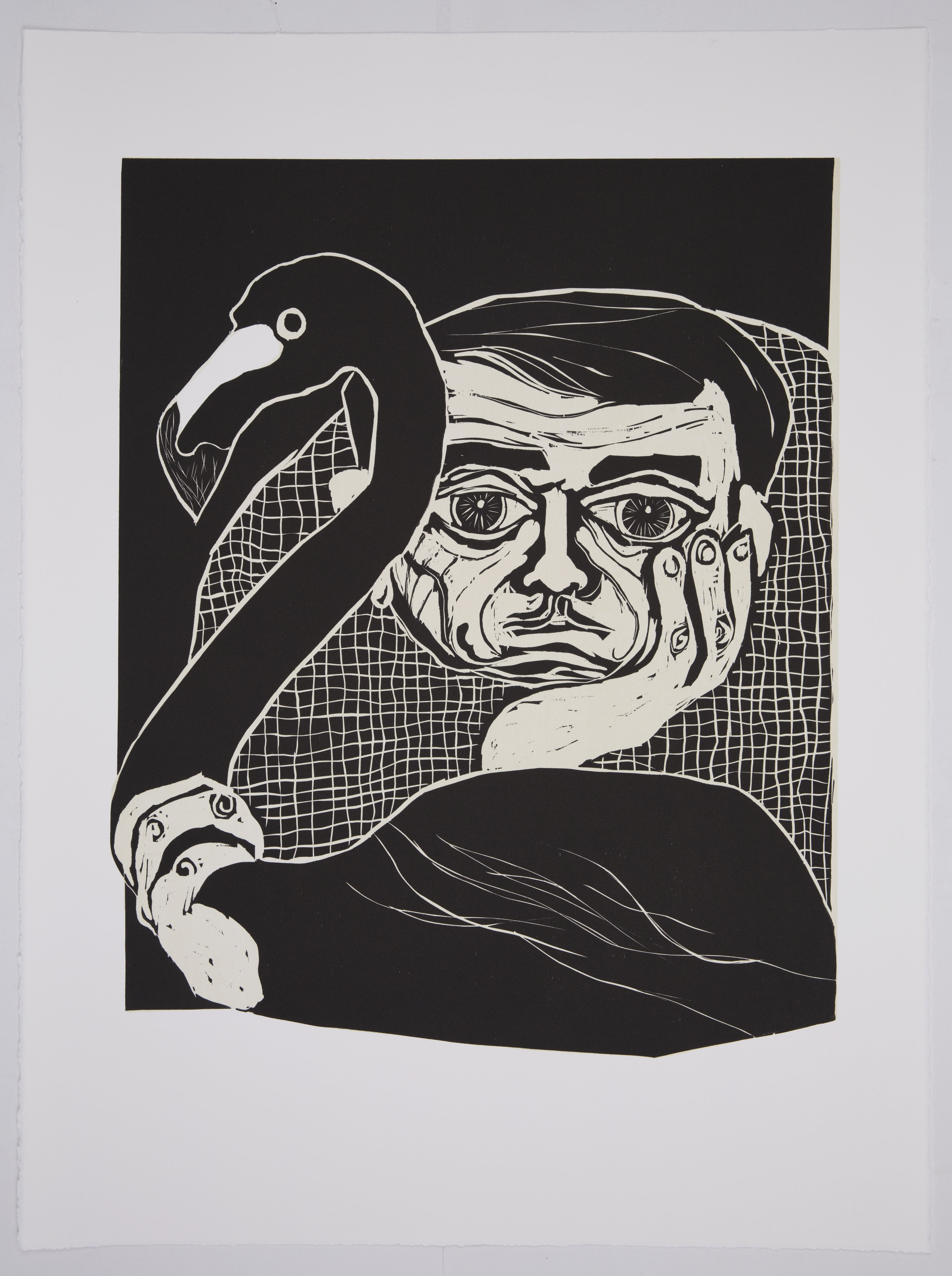 LACRIMINAL II  2016 Woodcut Image Size: 24 x 18 inches Paper Size: 30 x 22 inches Edition of 10