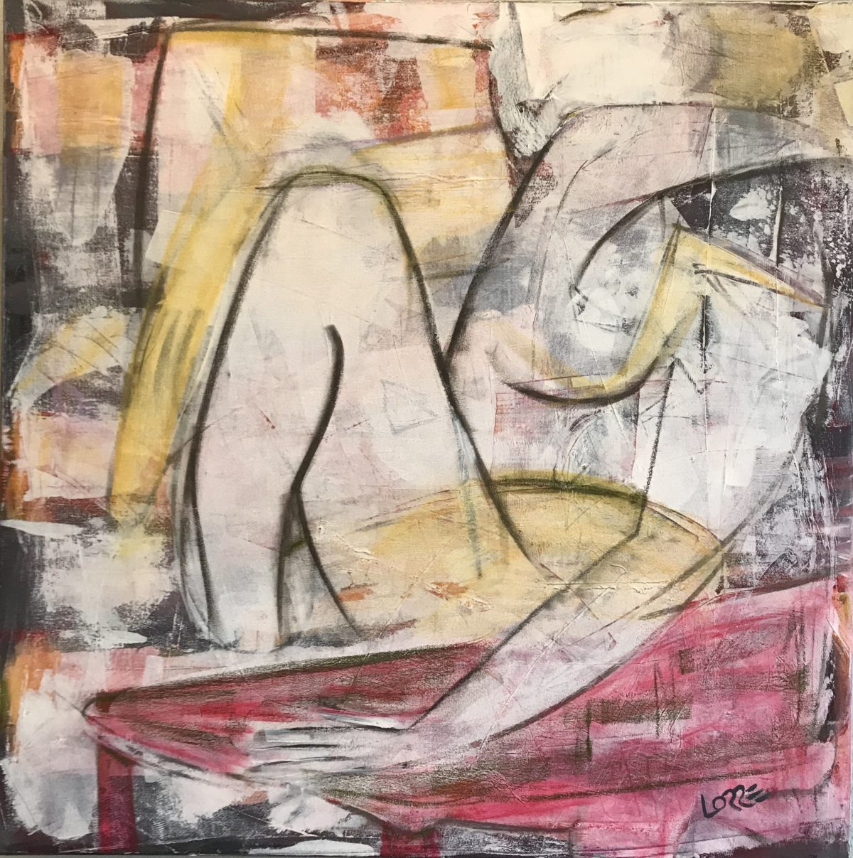 Red Table Painting Jen Lorre
