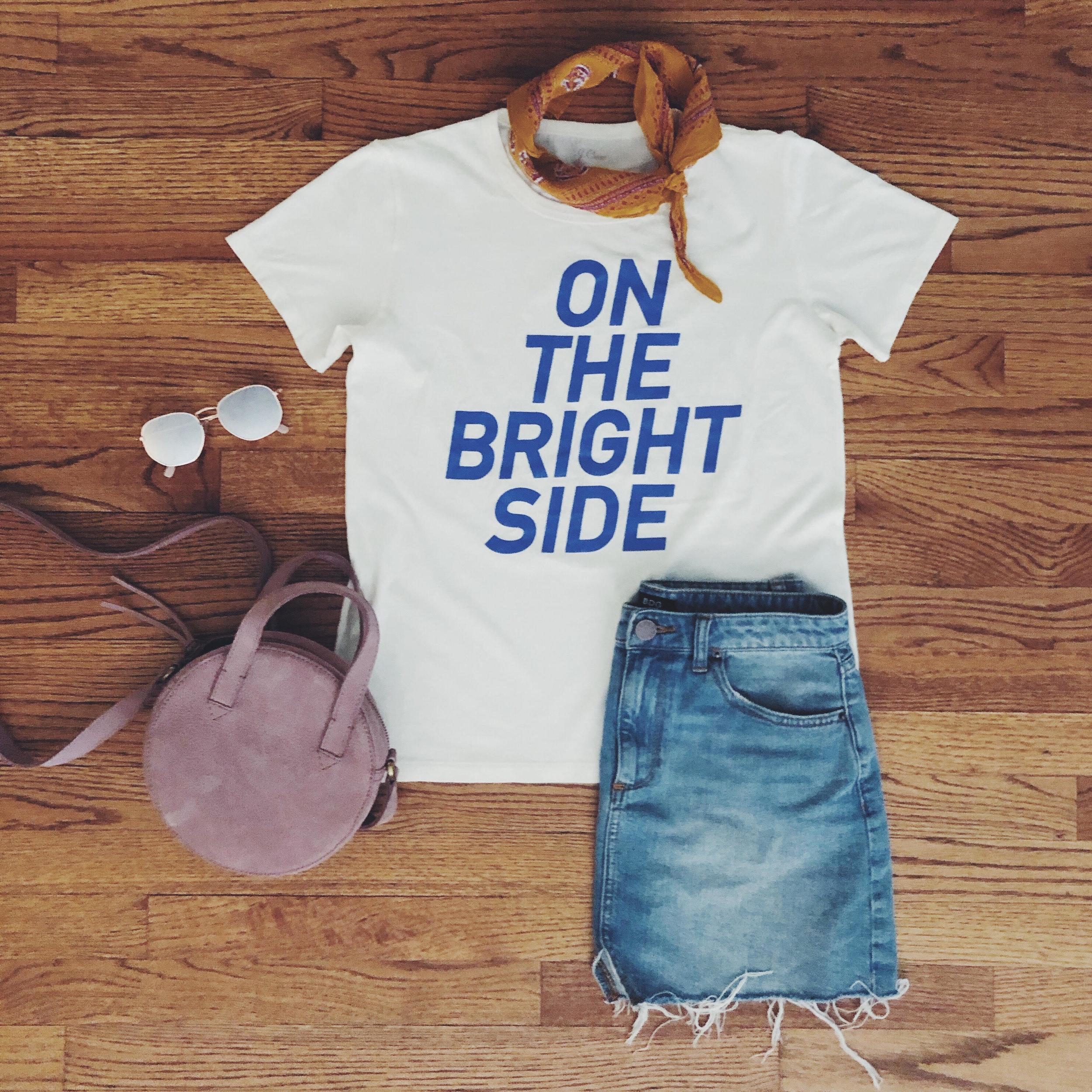 T-shirt:  JCrew , Jean Skirt & Sunnies:  Urban Outfitters , Bandanna & Purse:  Madewell