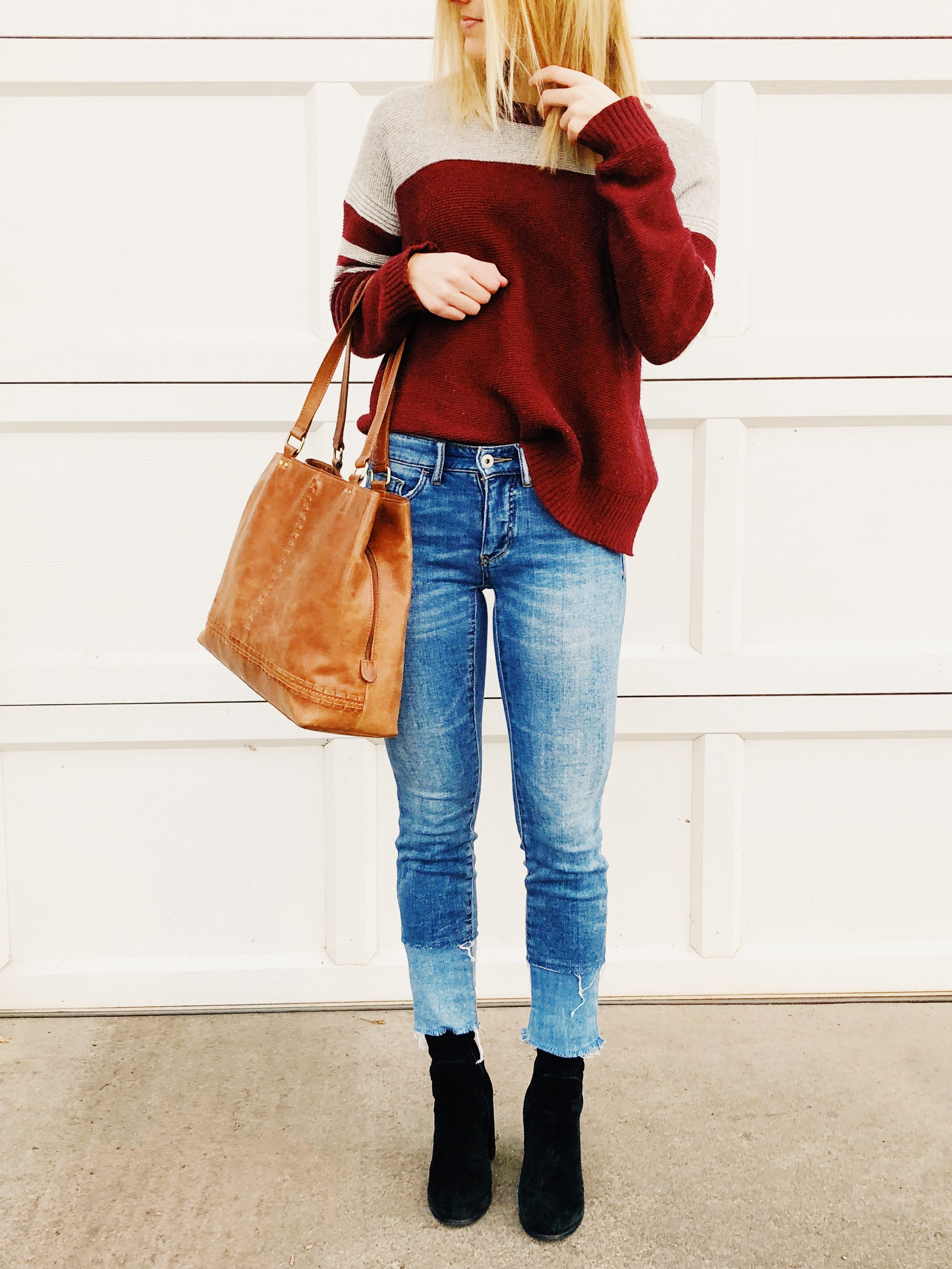 Outfit Details:  Sweater: Madewell, Jeans: Anthropologie, Booties:  Chinese Laundry , Bag: Target