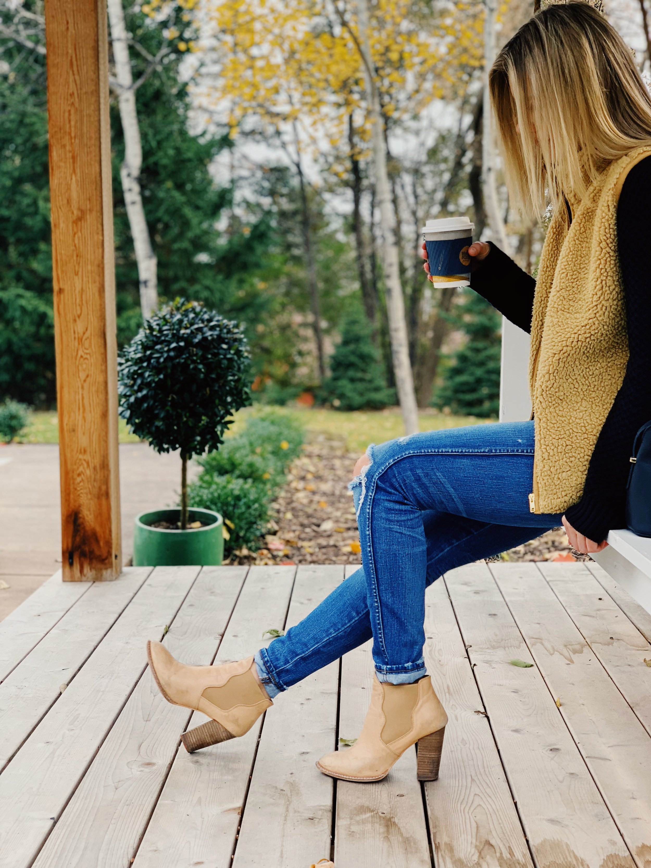 Outfit Details:  Sweater: Nordstrom, Vest: JCrew, Jeans: Madewell, Booties: Chinese Laundry