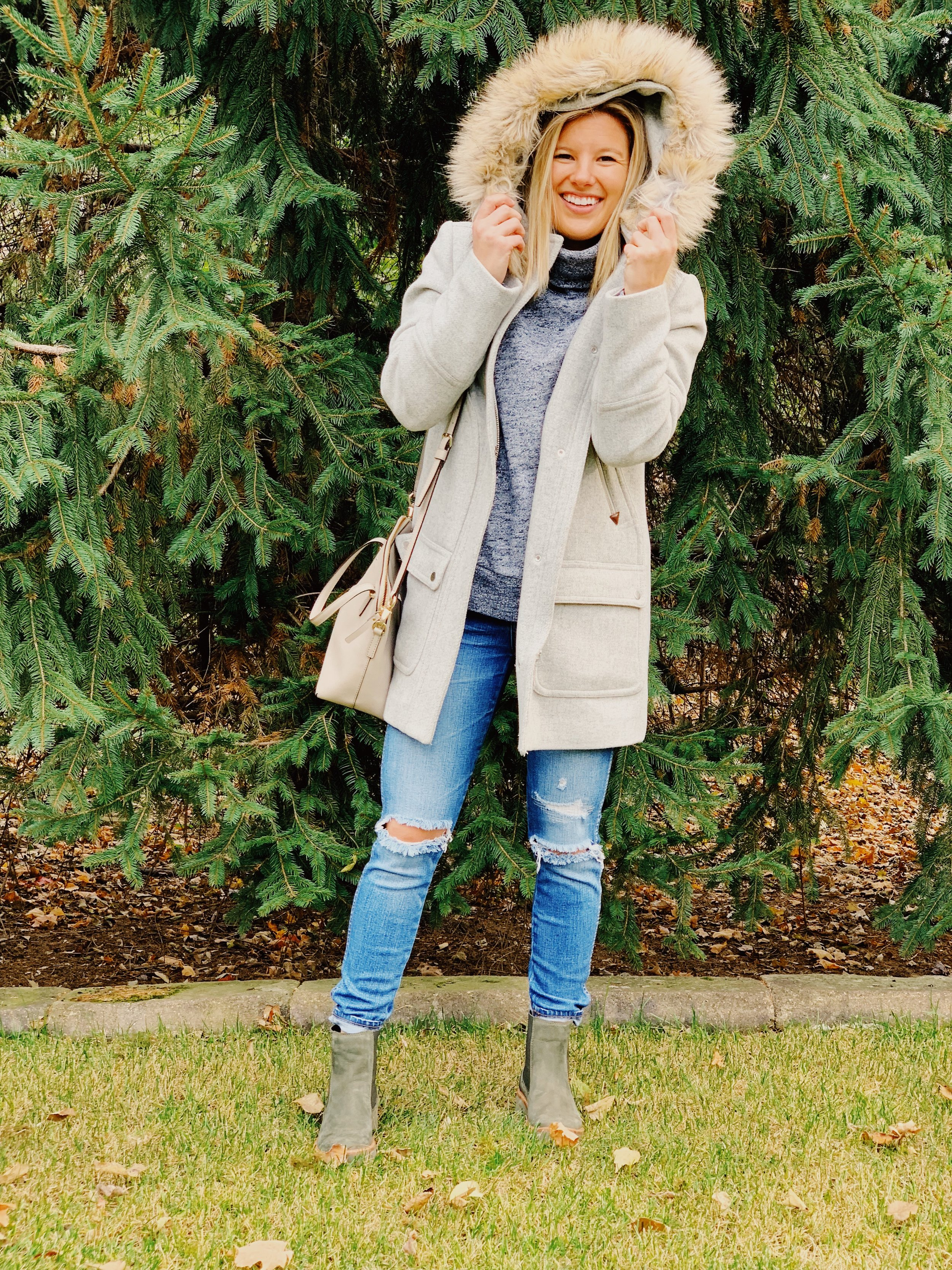 Outfit Details: Coat: JCrew, Sweatshirt: Madewell, Jeans: Madewell, Boots:  Timerland , Purse: Kate Spade