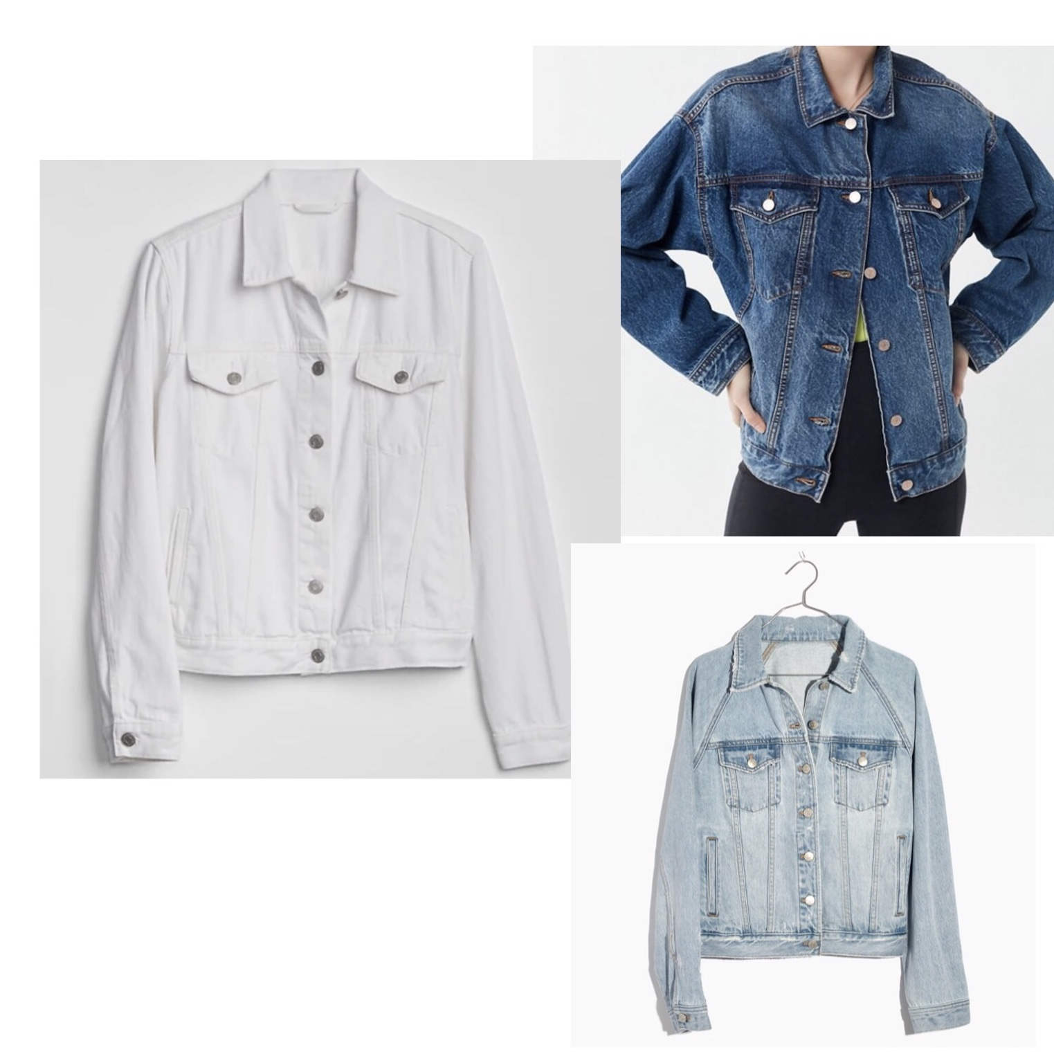 (Clockwise)  1.  Gap Icon Denim Jacket  - $63  2.  Urban Outfitters BDG Classic Denim Trucker Jacket  - $79  3.  Madewell The Raglan Oversized Jean Jacket  - $129