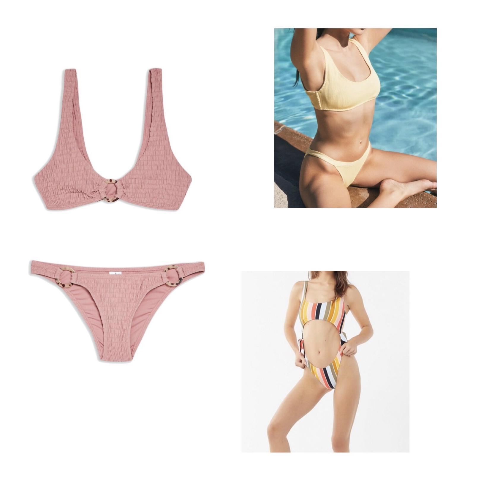 (Clockwise)  1.  Topshop Tortoiseshell Ring Smocked Bikini  - $62  2.  LA Hearts Bondi Ribbed Bikini  - $50  3.  Billabong Retro Striped One-Piece  - $100