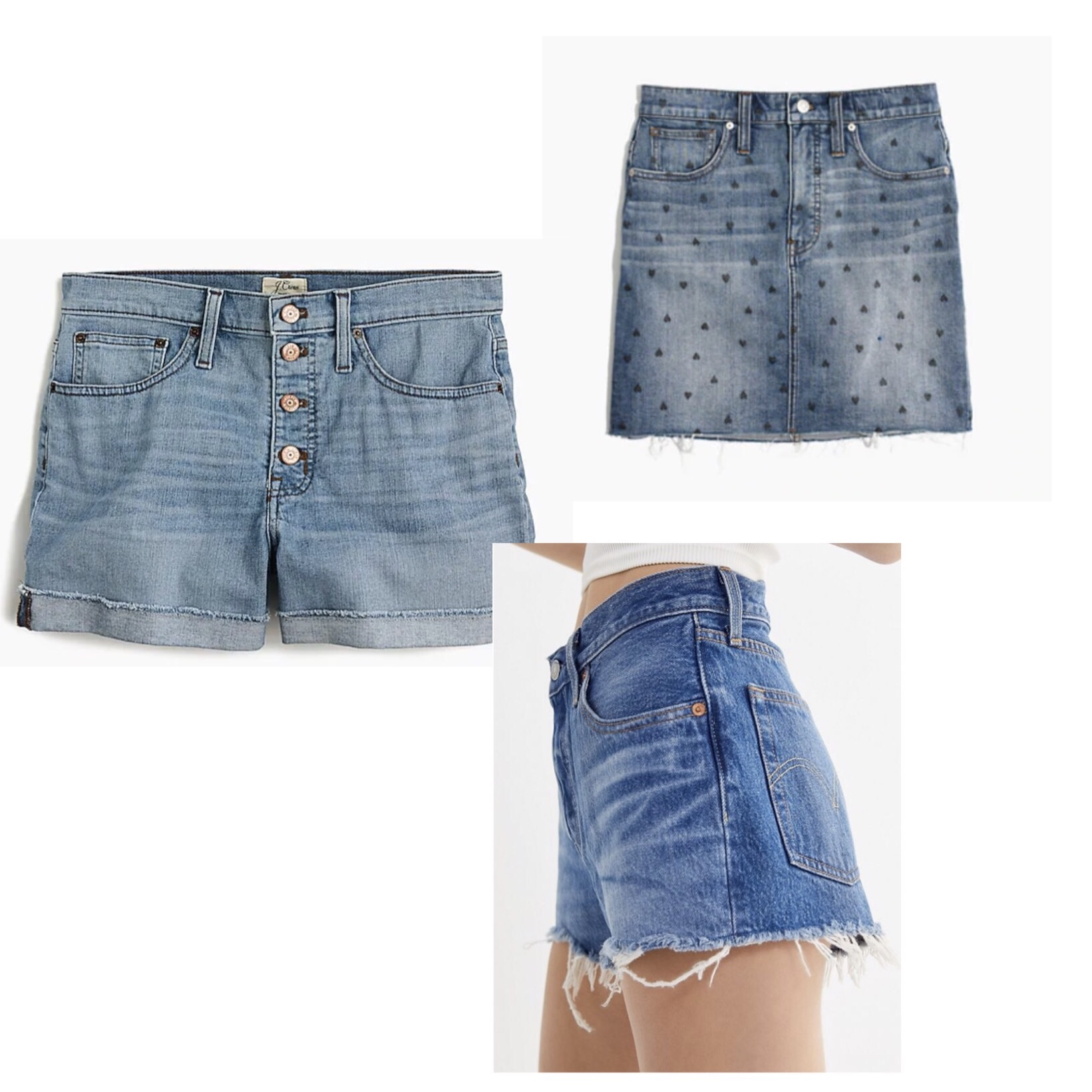 (Clockwise)  1.  J.Crew High-Rise Denim Shorts  - $80  2.  Madewell Stretch Denim Mini Skirt  - $70  3.  Levi's 501 Mid-Rise Denim Shorts  - $70