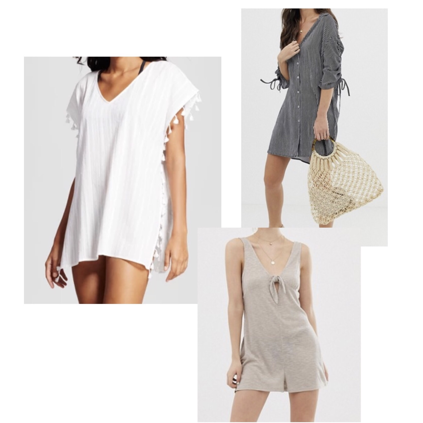 (Clockwise)  1.  Target Cover 2 Cover Tassel Trim Cover-Up Dress  - $25  2.  Asos Glamorous Beach Shirt  - $45  3.  Glamorous Easy Romper  - $35