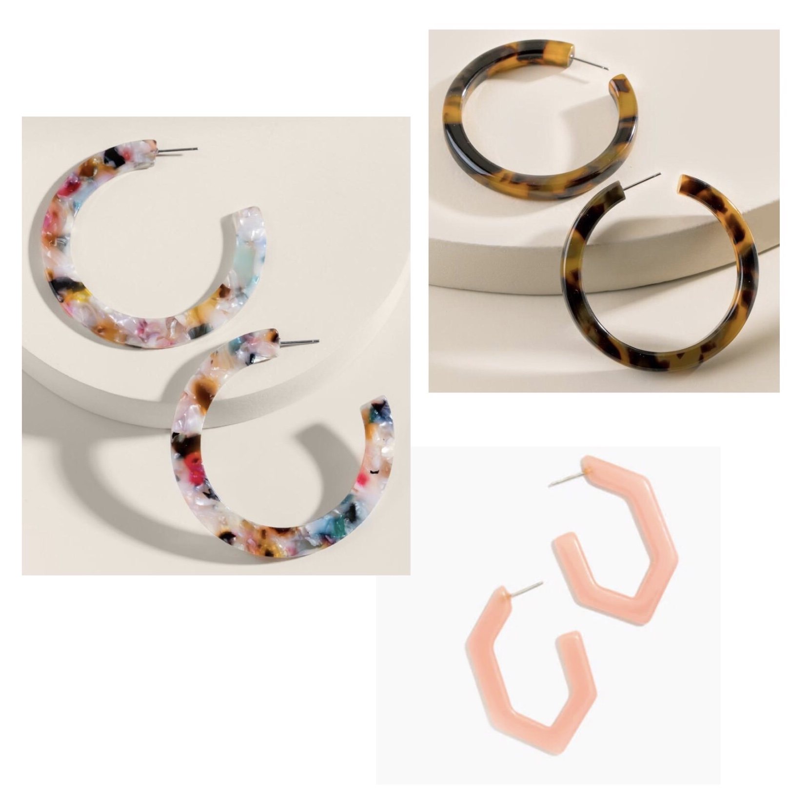 (Clockwise)  1.  Jasmine Flat Marbled Resin Hoops  - $20  2.  Charley Tortoise Hoops  - $20  3.  Madewell Oversized Geometric Hoops  - $26