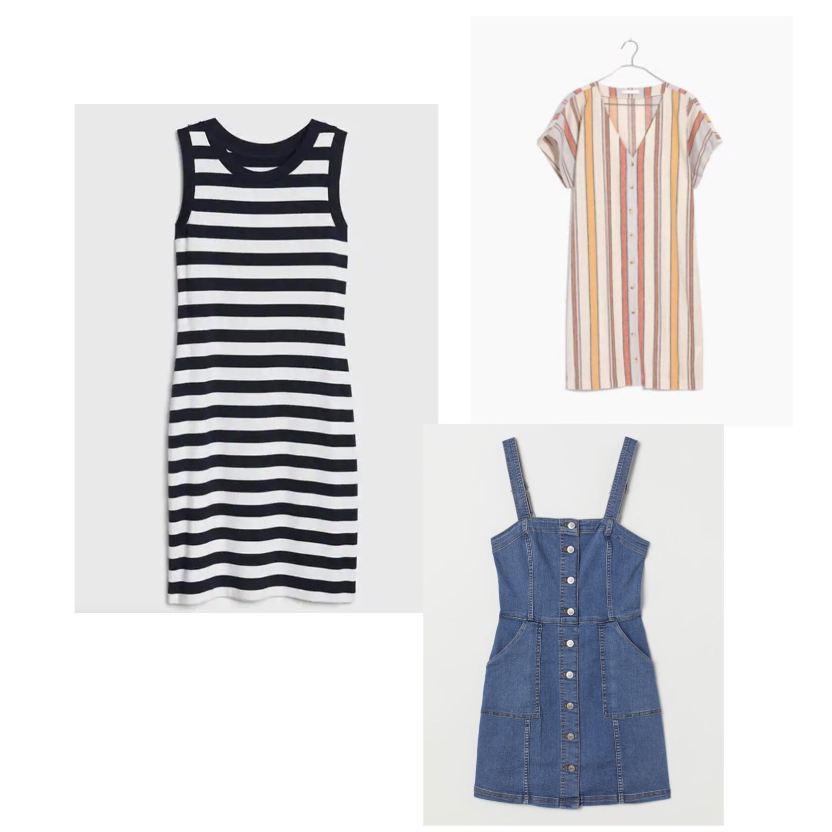 (Clockwise)  1.  Gap Modern Stripe Sleeveless Ringer T-Shirt Dress  - $45  2.  Madewell Button-Front Easy Dress  - $118  3. H &M Bib Overall Dress  - $35