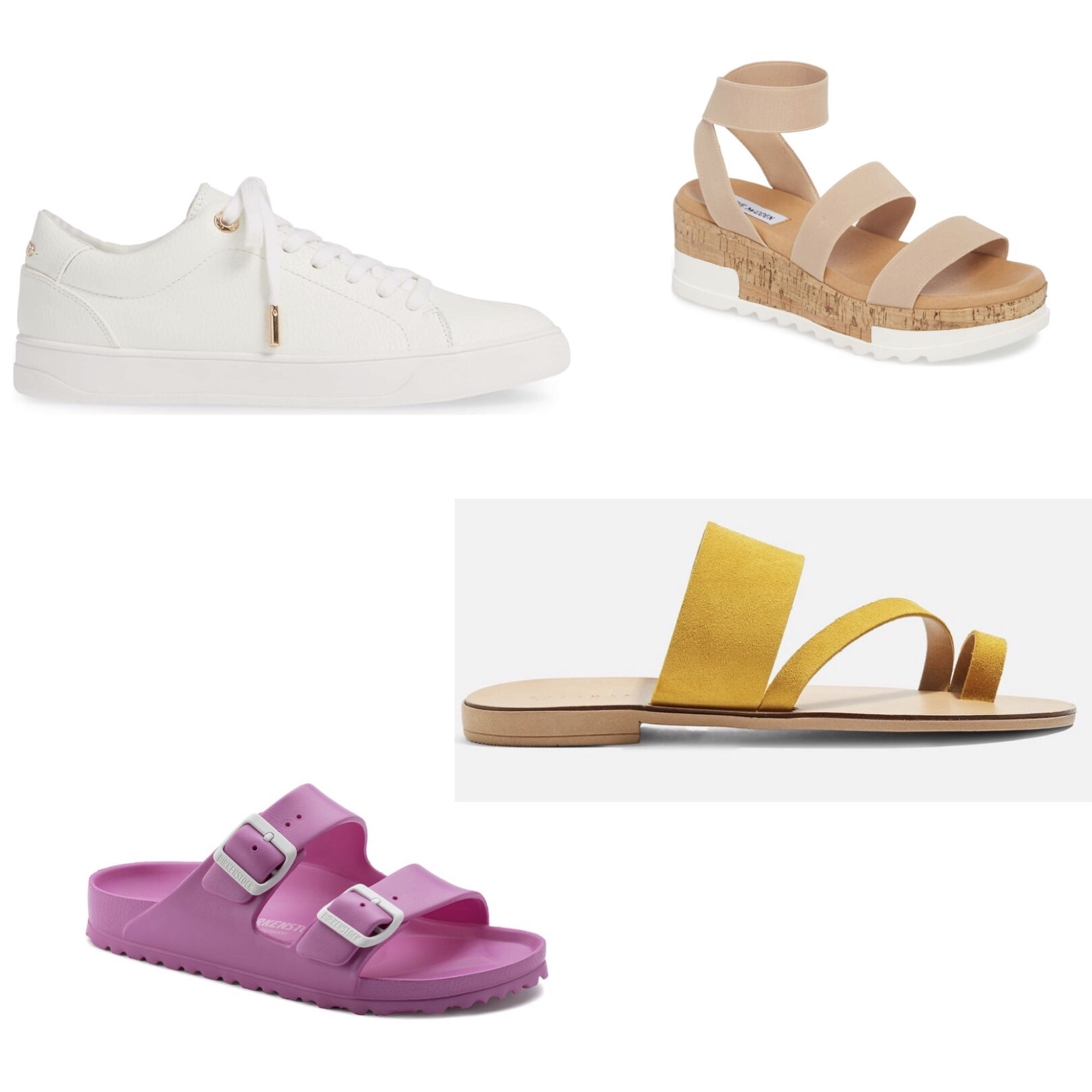(Top to Bottom)  1.  Steve Madden Bandi Platform Wedge Sandal  - $80  2.  Topshop Curly Low Top Sneaker  - $40  3.  Topshop Hope Sandals  - $35  4.  Birkenstock Eva  - $40