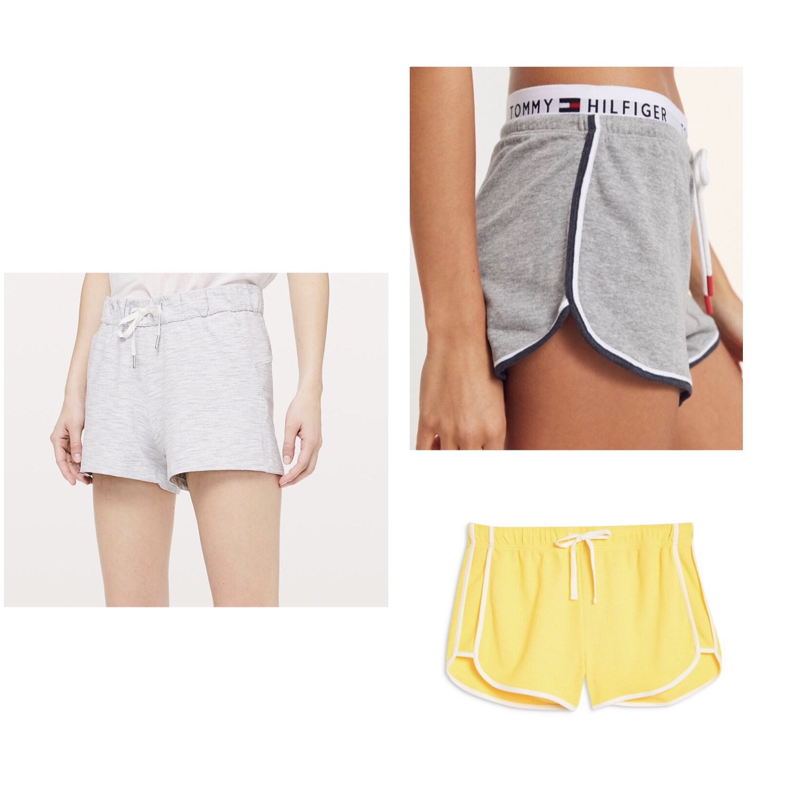 (Clockwise)  1.  Lululemon On The Fly Short  - $58  2.  Tommy Hilfiger UO Retro Shorts  - $39  3.  Topshop Waffle Weave Runner Shorts  - $18