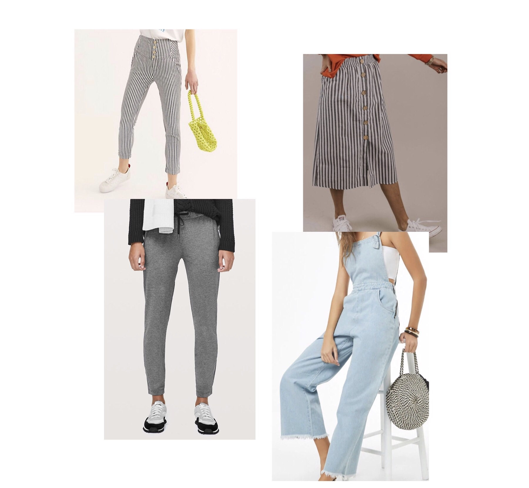 (clockwise)  1.  Free people high waist skinny pants  - $78  2.  roole dexter button skirt  - $35  3.  forver 21 frayed-hem denim overalls  - $34  4.  Lululemon on the fly pant  - $98