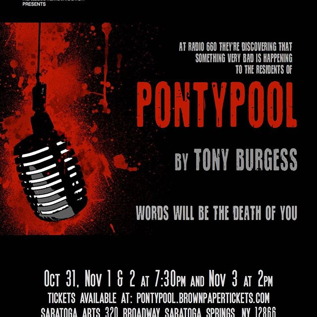 """Happy Friday the 13th! Join us at ITheatre Saratoga / The Creative Place this Halloween and step through the doors of the theater at Saratoga Arts and into Pontypool, Ontario: population 2,408 and rapidly dwindling... Runs Oct 31 - Nov 3 at Saratoga Arts. Get your tix now at: https://pontypool.brownpapertickets.com/ When the sleepy town is hit with a devastating and mysterious epidemic, shock jock Grant Mazzy and the staff at the local radio station must ask, """"Is this more fake news?"""" As reports of escalating violence in the streets pour in, tensions rise in the basement studio where Mazzy continues to broadcast. Based on """"Pontypool Changes Everything"""", the cult horror novel-turned-film-turned-radio play by Tony Burgess, this suspenseful and gory stage adaptation merges thoughtful semiotic satire with America's zombie obsession. And leaves us wondering if our words will, in fact, pronounce the end of humanity.  null"""