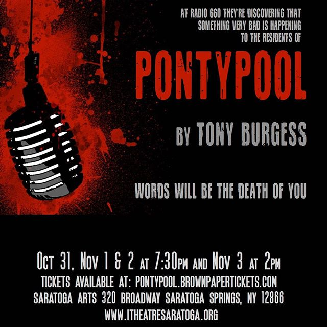 """Join iTheatre Saratoga this Halloween at Saratoga Arts as we bring this modern horror cult classic to the stage! Pontypool runs Oct 31 - Nov 3 at Saratoga Arts. Get your tix now at: https://pontypool.brownpapertickets.com/ When the sleepy town is hit with a devastating and mysterious epidemic, shock jock Grant Mazzy and the staff at the local radio station must ask, """"Is this more fake news?"""" As reports of escalating violence in the streets pour in, tensions rise in the basement studio where Mazzy continues to broadcast. Based on """"Pontypool Changes Everything"""", the cult horror novel-turned-film-turned-radio play by Tony Burgess, this suspenseful and gory stage adaptation merges thoughtful semiotic satire with America's zombie obsession. And leaves us wondering if our words will, in fact, pronounce the end of humanity."""