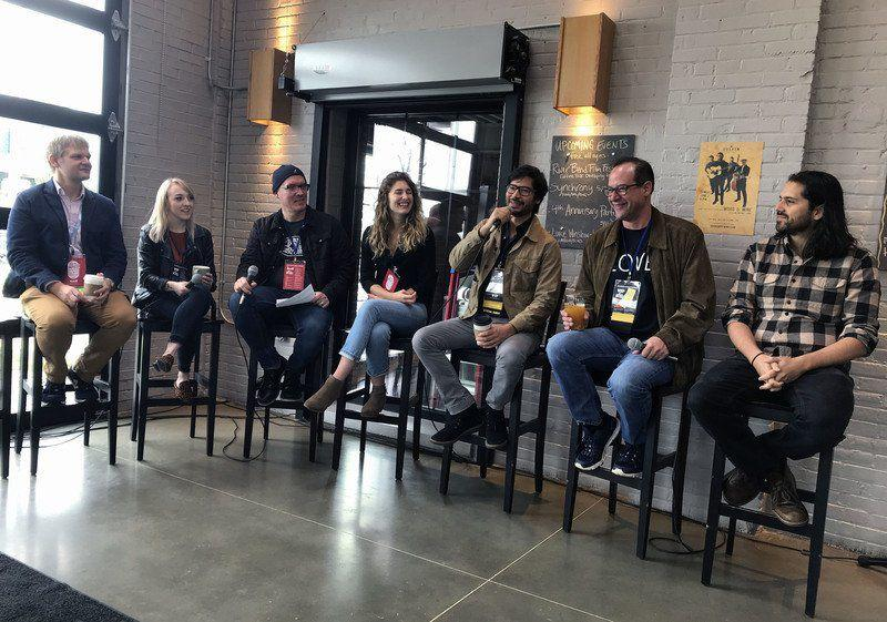 "Six documentary filmmakers speak on the topic of ""Developing the Doc"" during a panel discussion at Goshen Brewing Company. Photo Credit: John Kline 