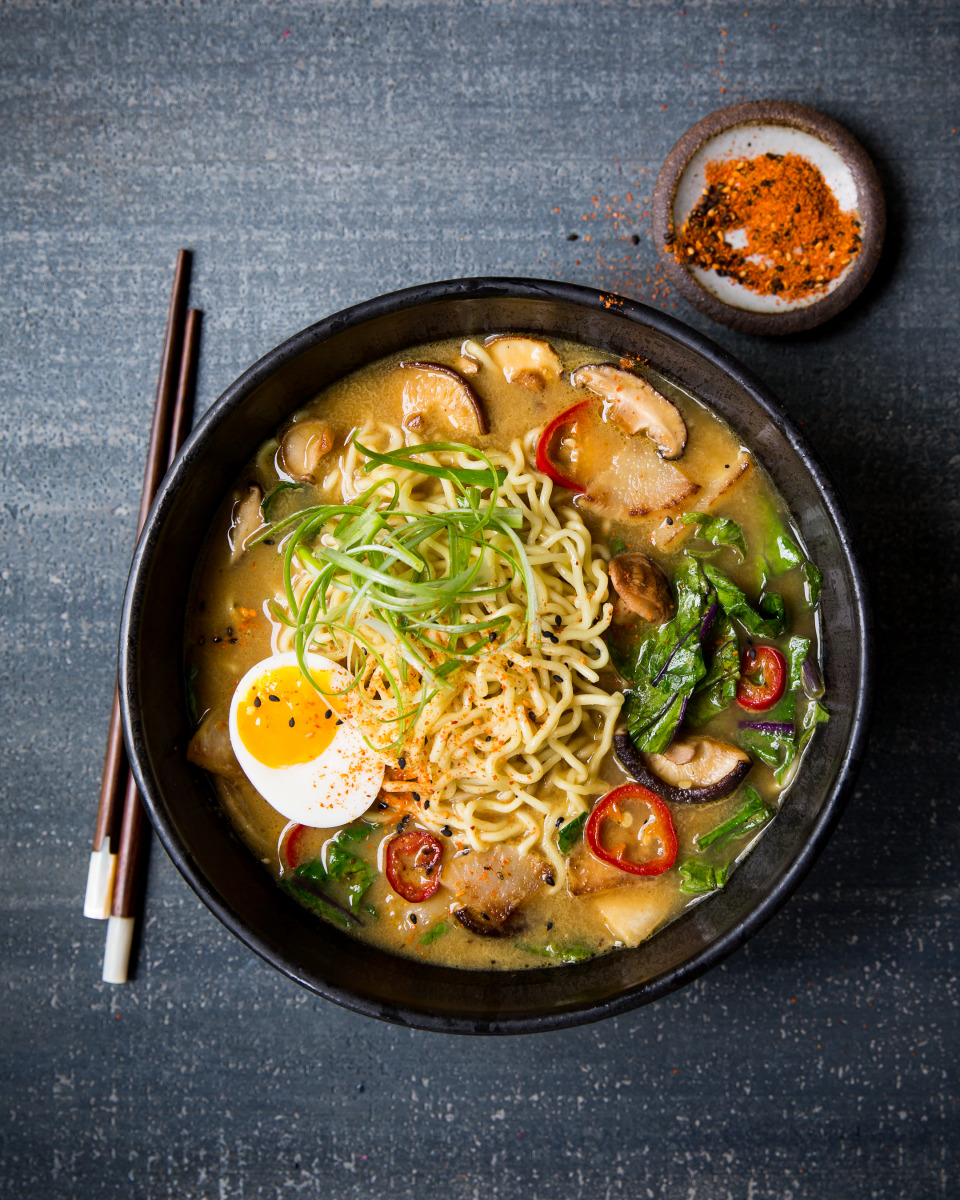 Kohlrabi Ramen with Mushroom Miso Broth
