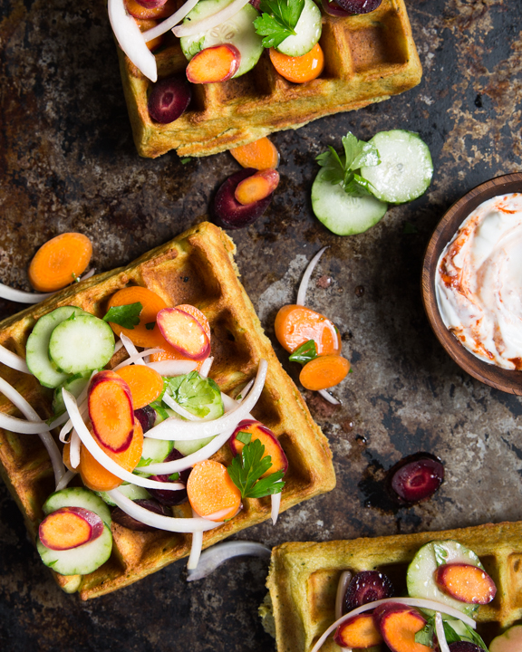 Falafel Waffles with Cucumber Slaw