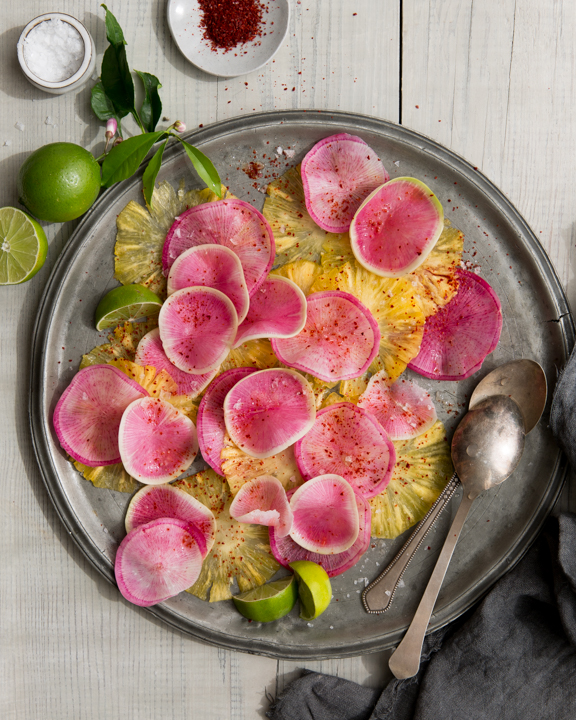 Watermelon Radish and Pineapple Carpaccio