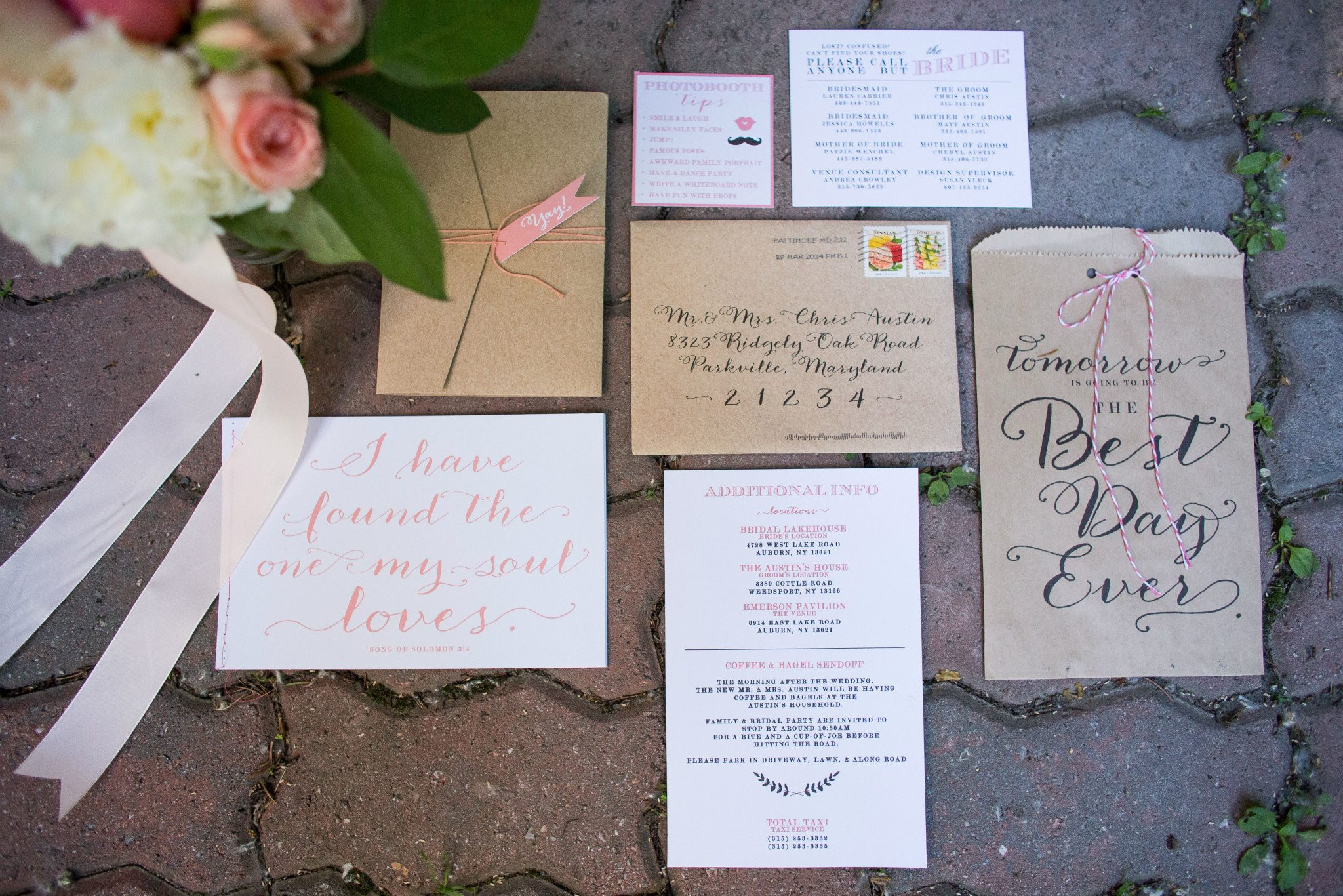 created, Designed & Printed entire wedding rehearsal kit, ceremony program (including bind stitching)