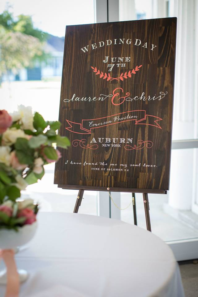 created, designed, & hand stained & painted wedding entrance sign