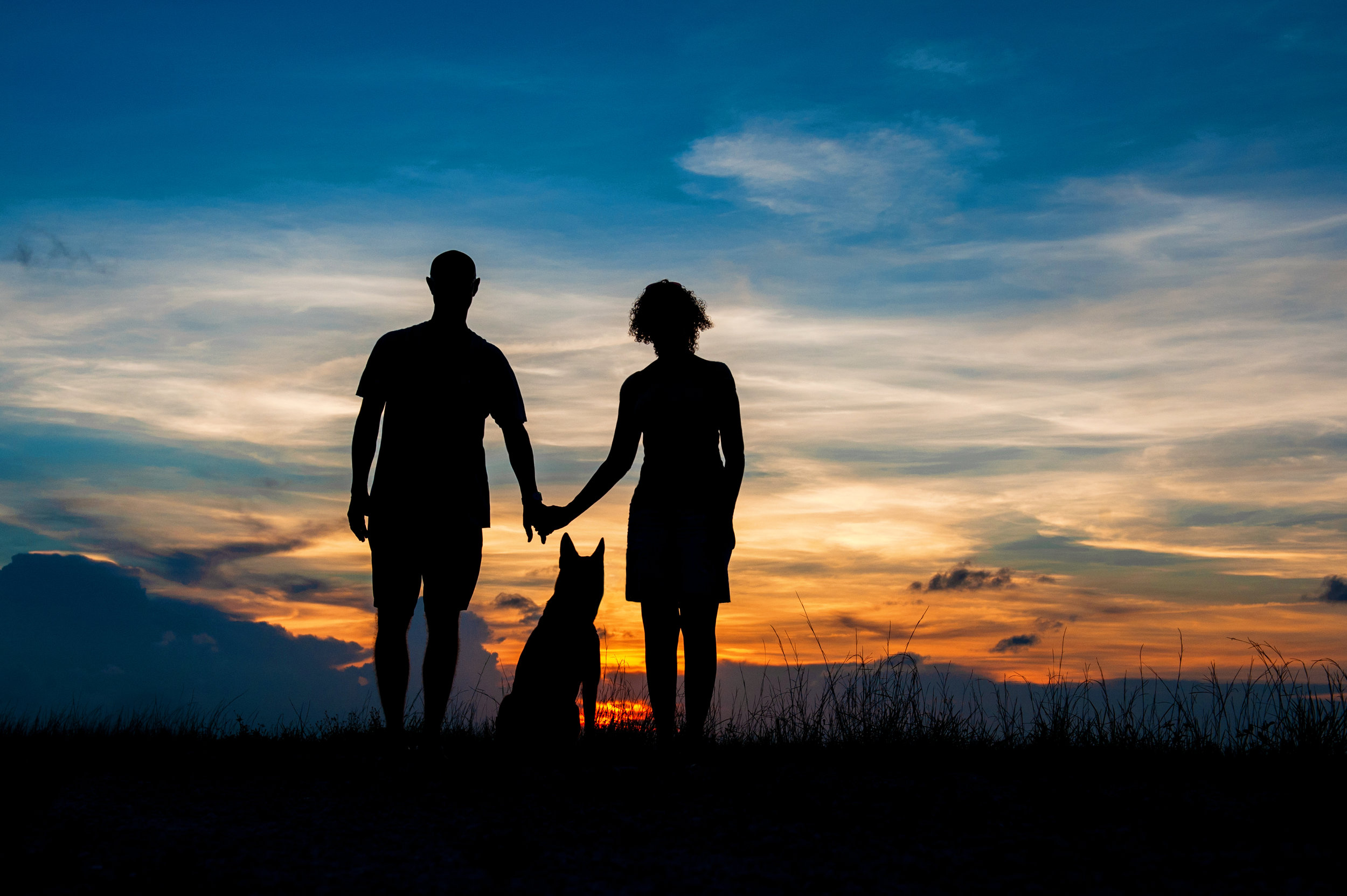 Paola-Paladini-Sunset-Silhouettes-Dog-Couple-Holding-Hands