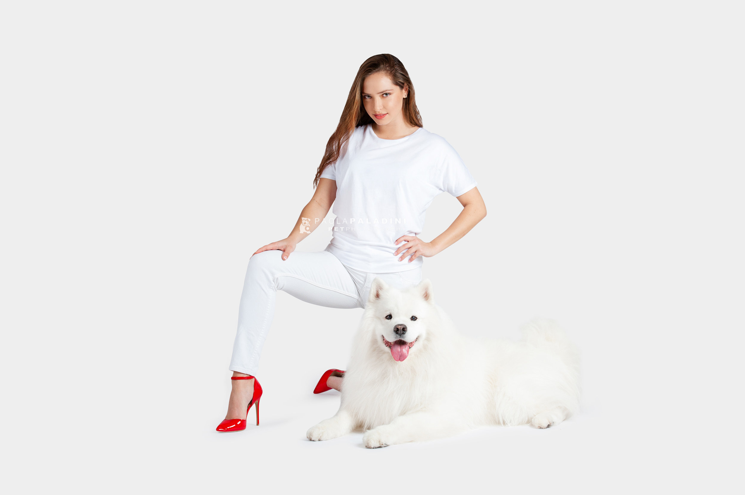 Paola-Paladini-White-on-White-Hounds-and-Heels-Samoyed-Red-Heels