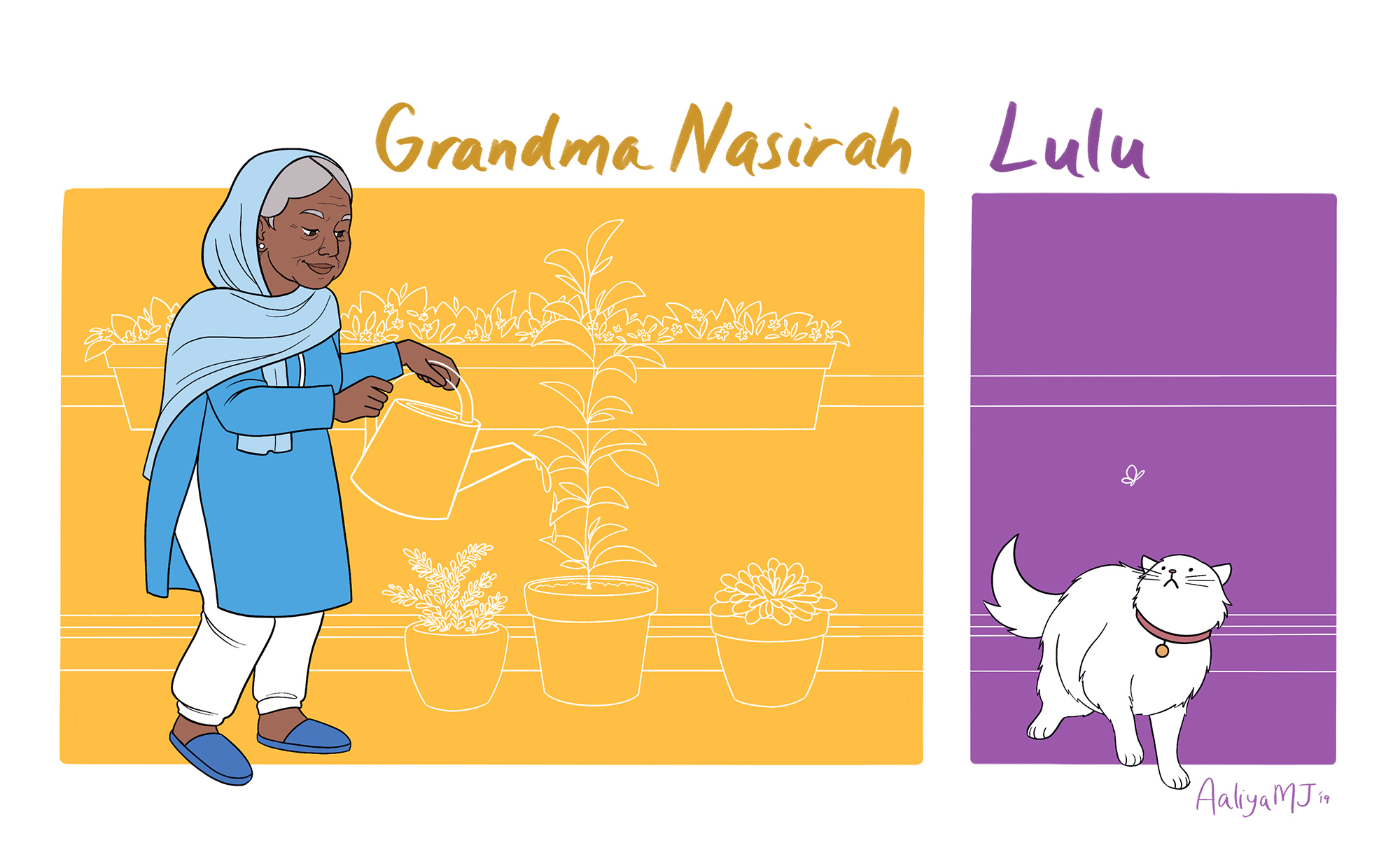 Nasirah has been Jenna's primary caretaker and guardian for the past ten years. While she grieved the loss of her son and daughter-in-law, she has since found solace in looking after her granddaughter. Nasirah's spiritual nature makes her a firm believer in destiny and that things happen for a reason. In her old age, she enjoys gardening and making sure Jenna stays out of as much trouble as possible.  Jenna and Nasirah's cat Lulu was a fat and happy cat until Sami showed up. Unfortunately for this textbook scaredy cat who is easily spooked, she too can see Sami.